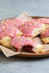 Pink glazed strawberry pop tarts