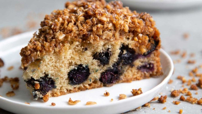 Blueberry Walnut Streusel Cake made with fresh blueberries topped with oat-walnut mixture