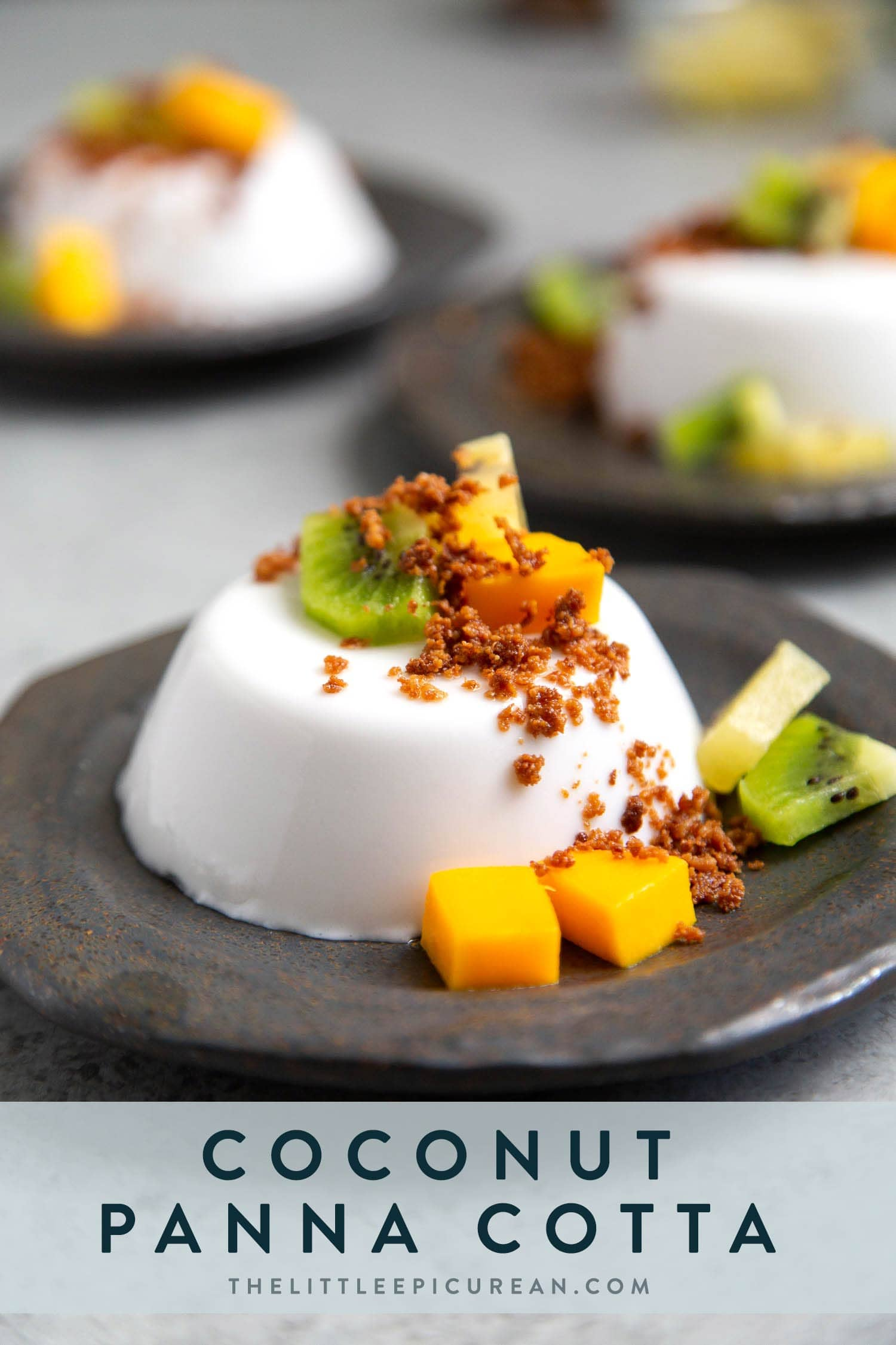 Coconut Panna Cotta served with latik and fresh fruits. Latik is from the Philippines. It is fried coconut milk curds.