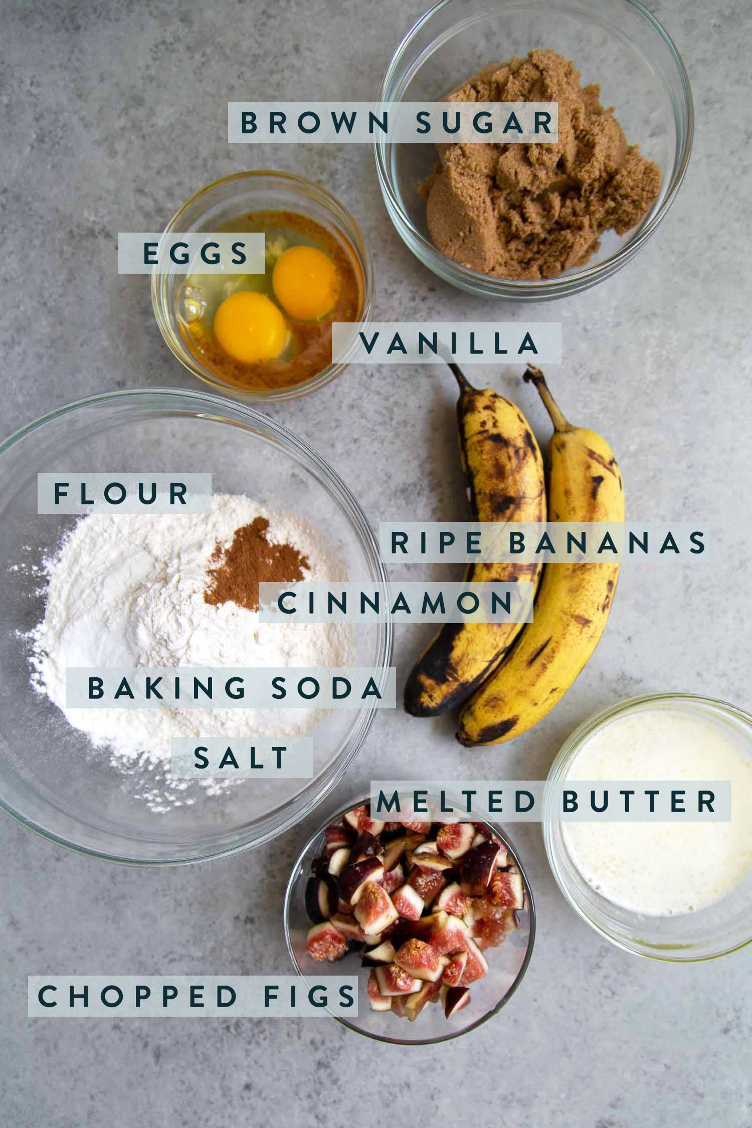 Fig Banana Bread Ingredients.