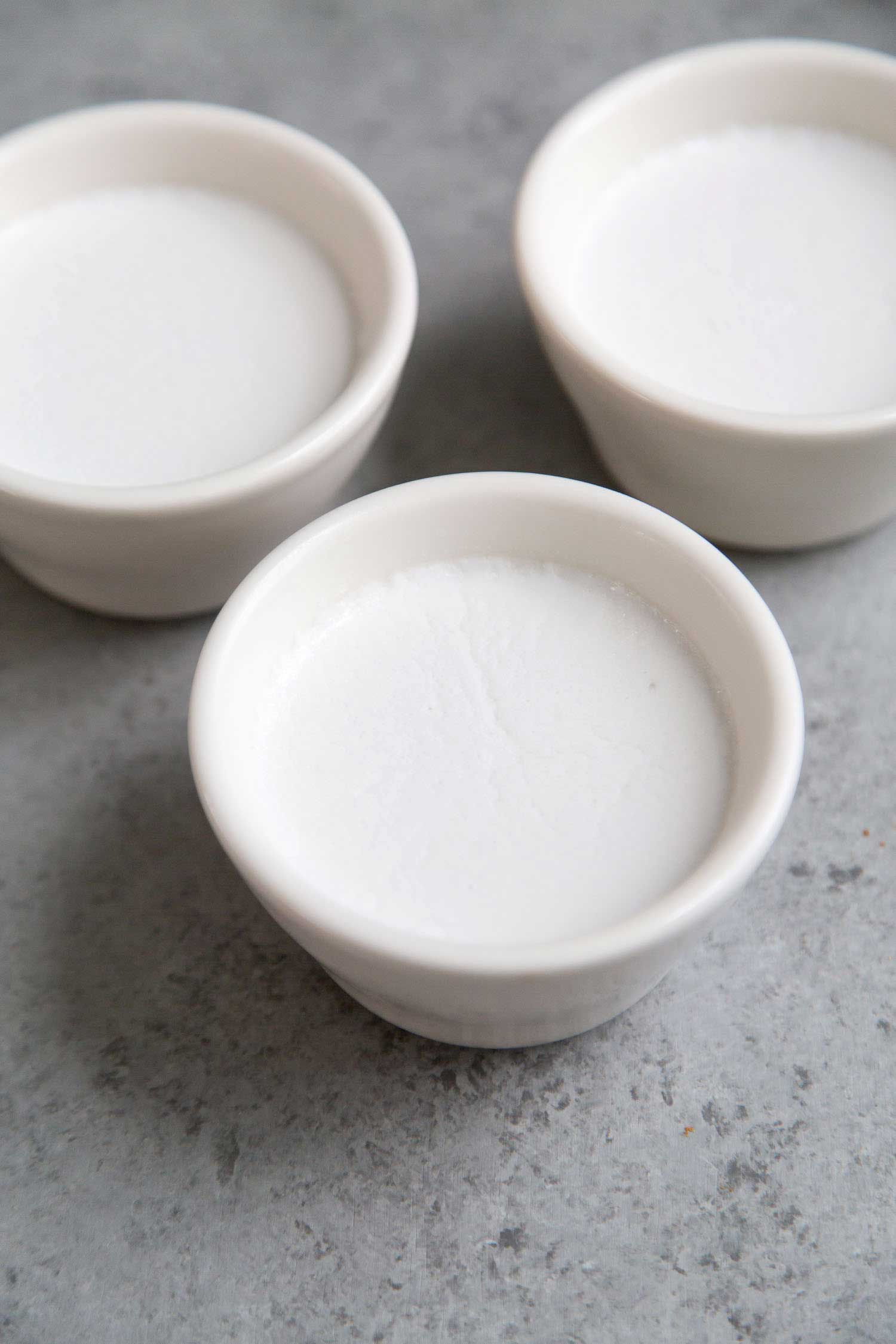 Coconut Panna Cotta set in small ramekin molds