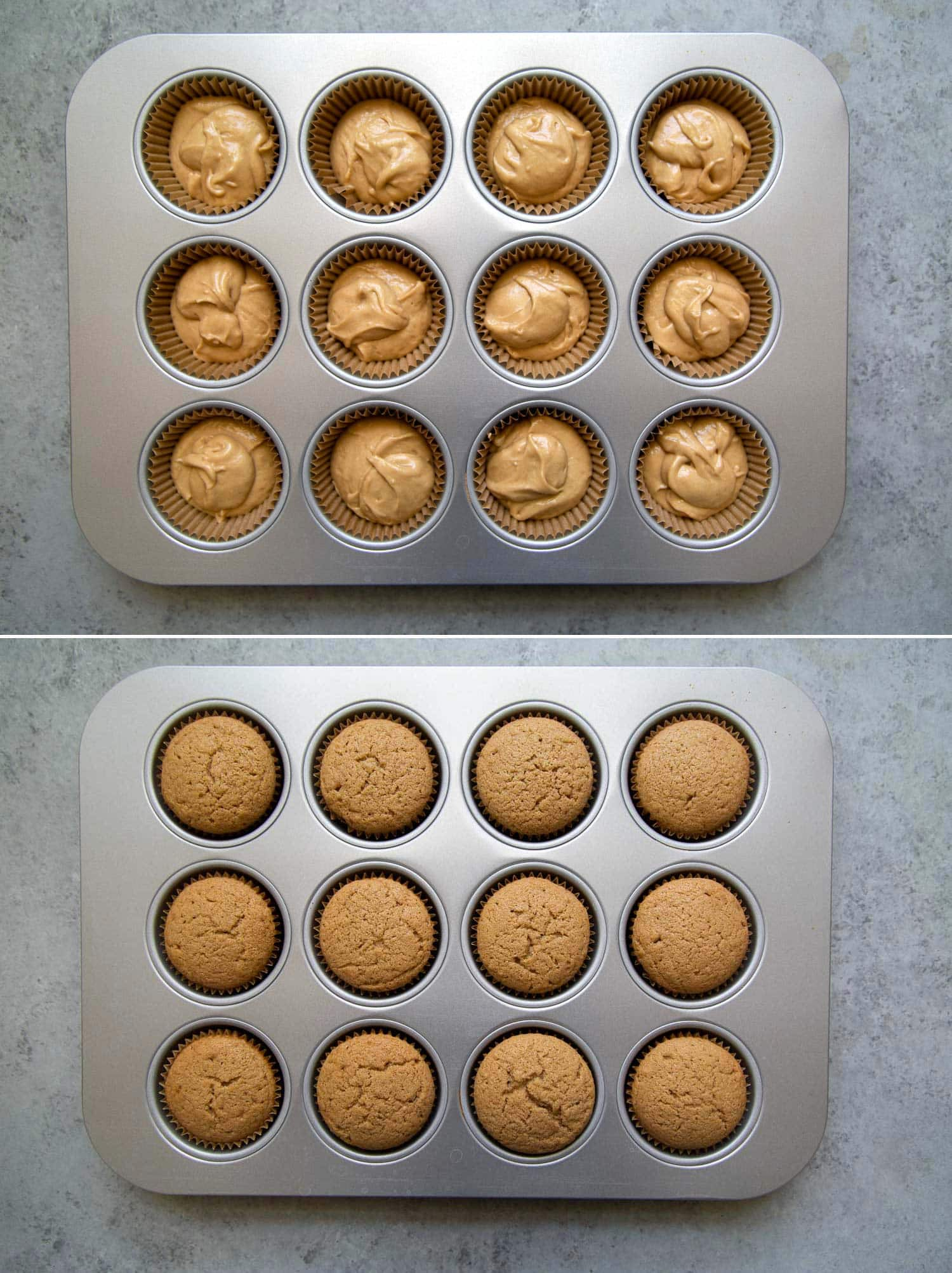 Milk tea cupcake batter before and after baking. This recipe makes one dozen Boba Tea Cupcakes.