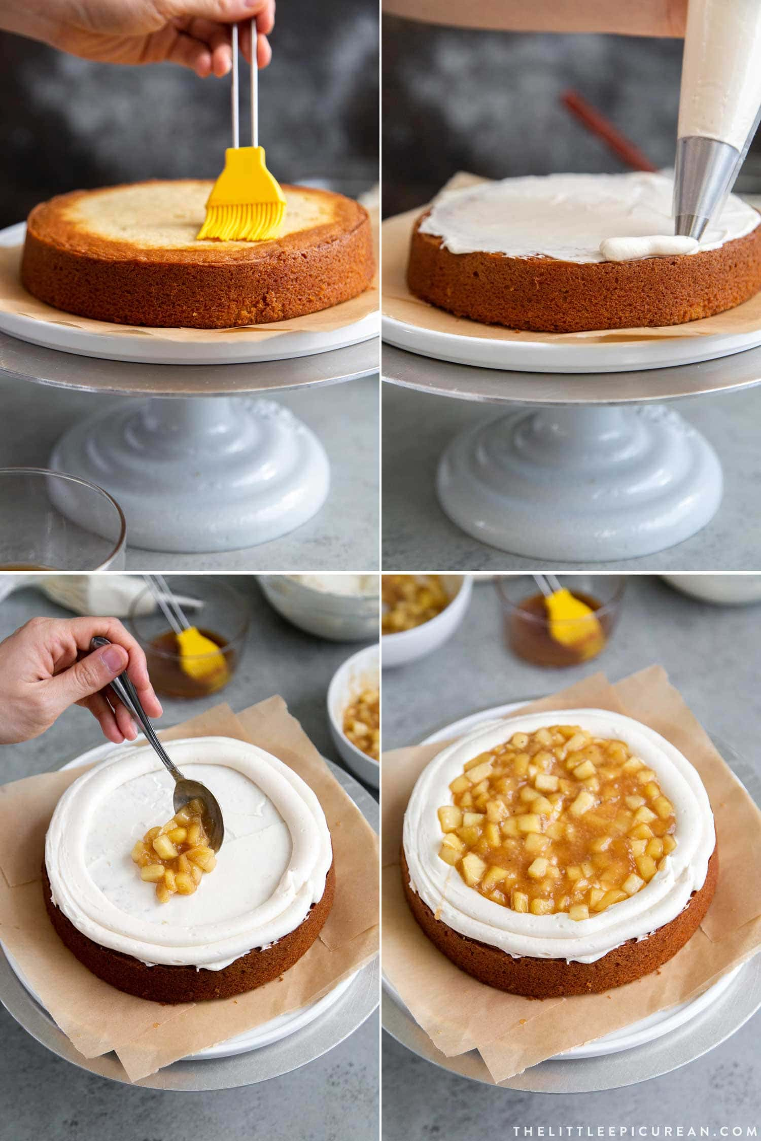 How to Assemble Apple Cider Layer Cake with cooked apple filling