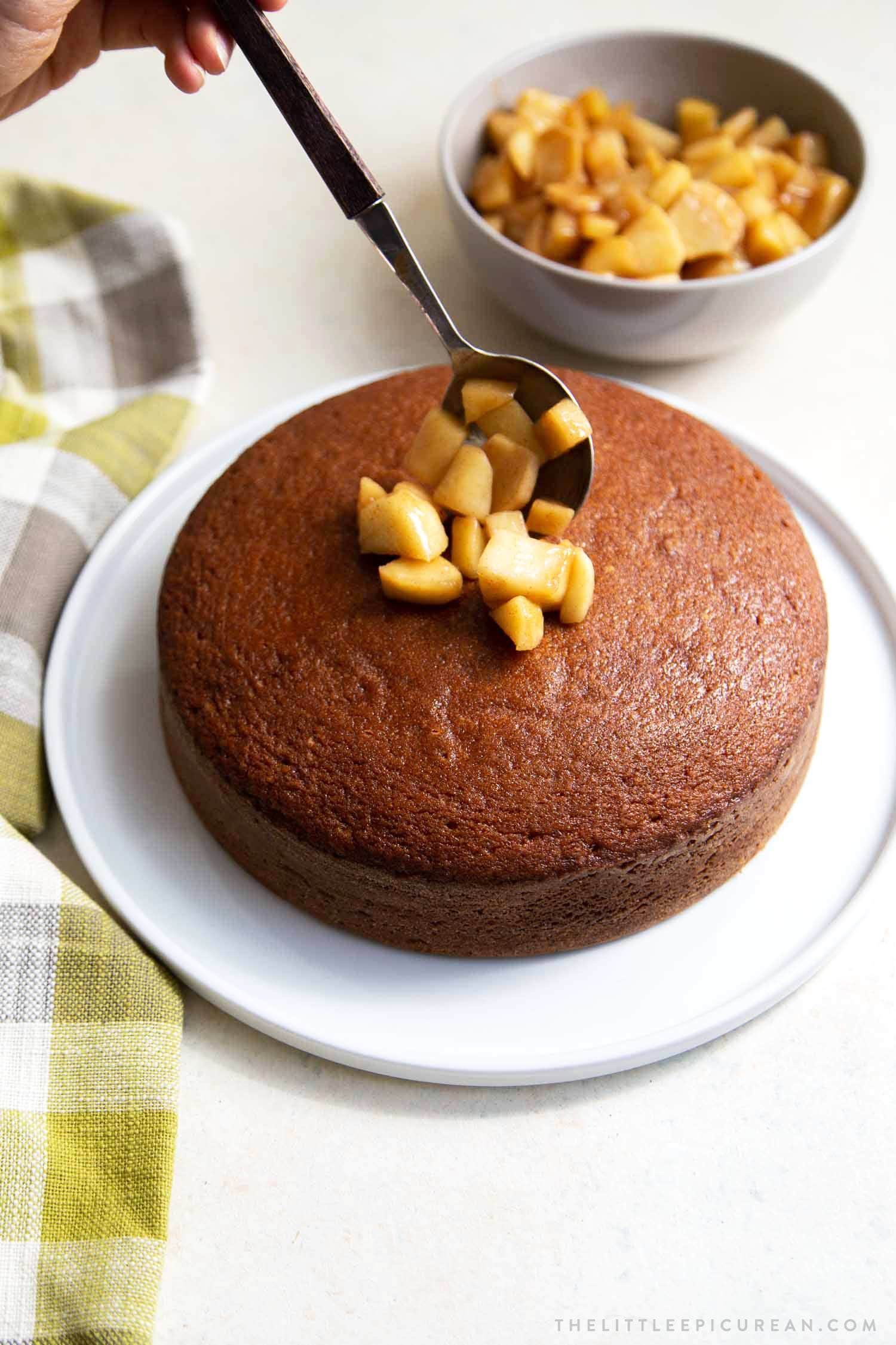 Ginger cake topped with ginger spiced apples and caramel