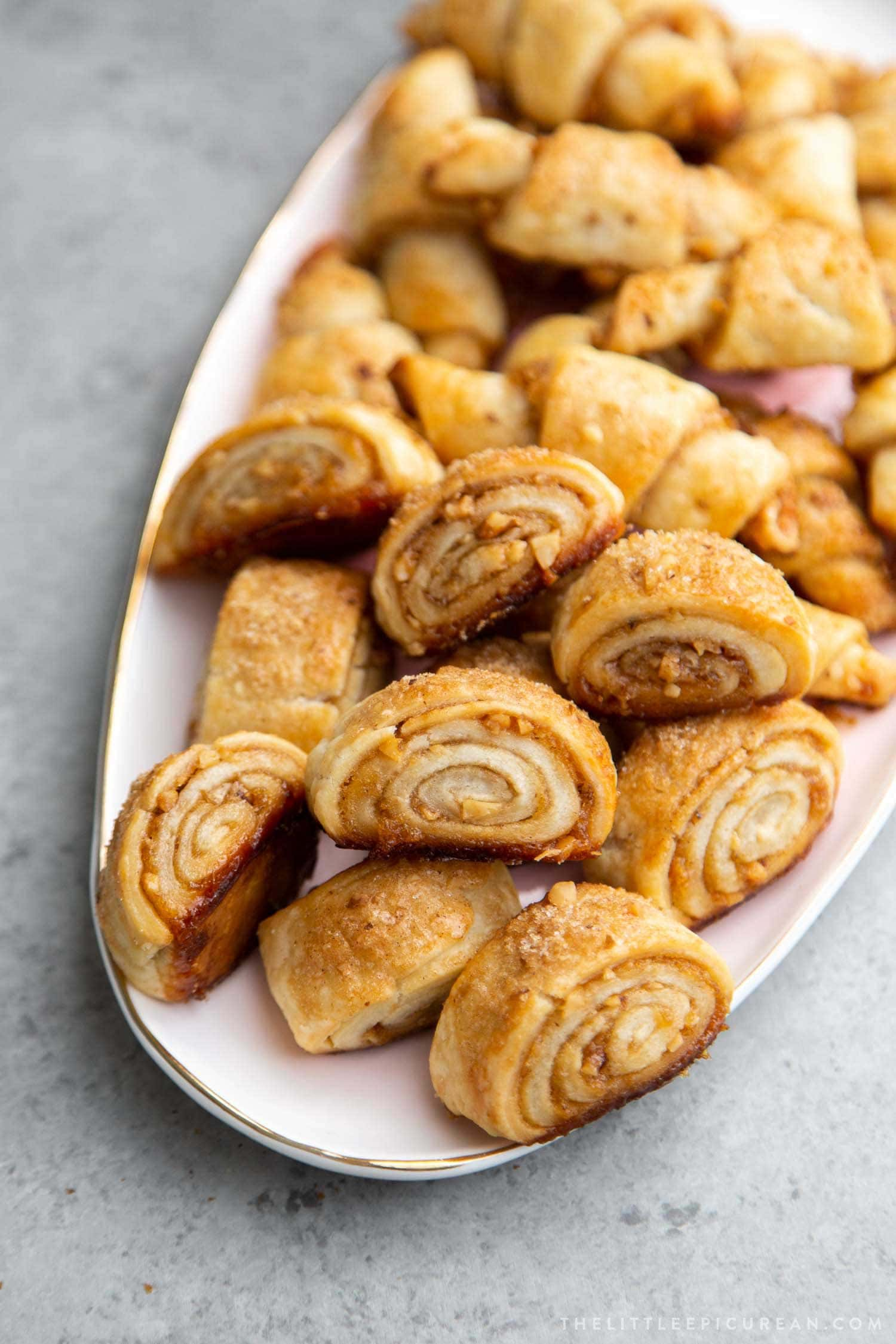 Guava Rugelach. This part cookie, part pastry baked treat is filled with guava jam and chopped walnuts.