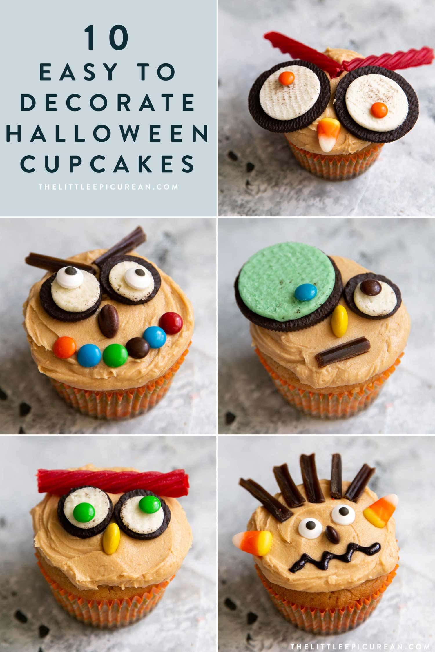 10 Easy to Decorate Halloween Cupcakes. Use your favorite cupcake and frosting recipe. Then, decorate Halloween cupcakes using a handful of store-bought candies.