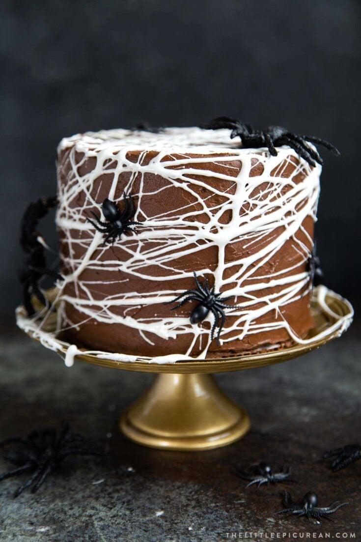Chocolate Spider Web Cake