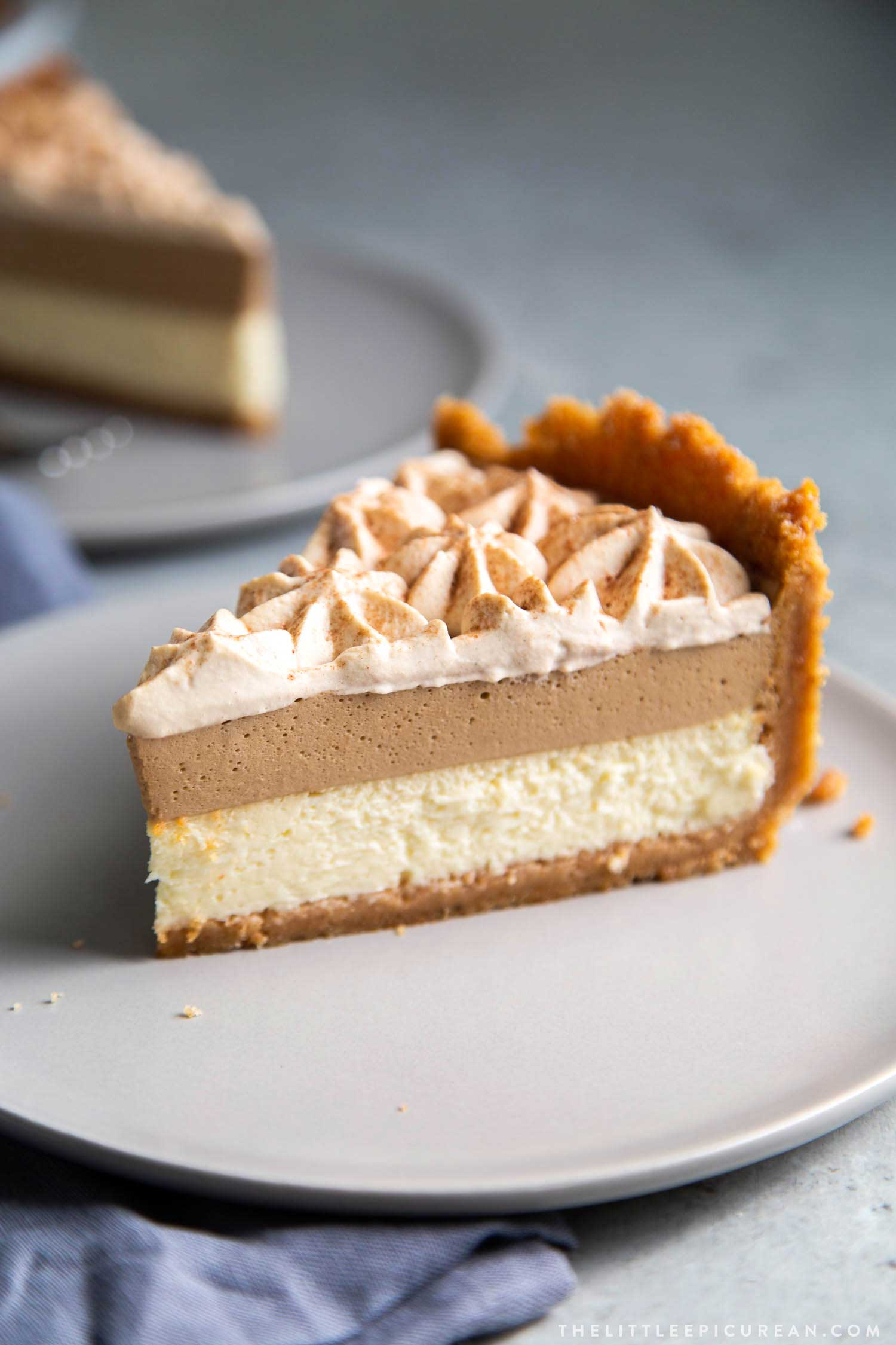 Coffee Mousse Cheesecake. Graham cracker crust, silky cheesecake layer topped with coffee mousse and whipped cream.