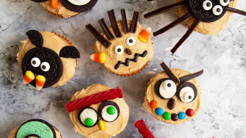 Easy to decorate Halloween cupcakes using a variety of store-bought cookies and candies. Use your favorite cupcake recipe, or try the peanut butter cupcakes with peanut butter frosting in this post.