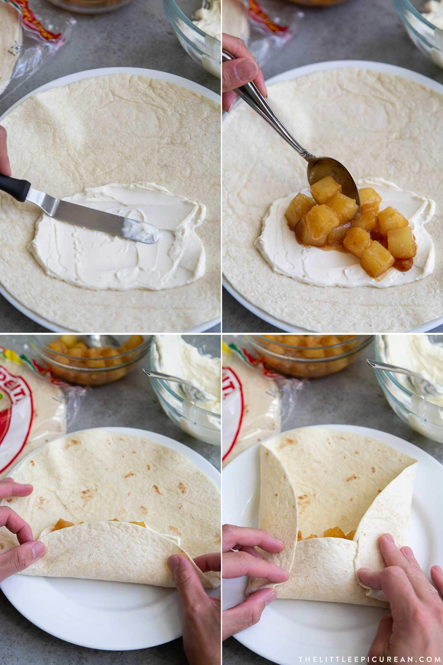 How to assemble pineapple cheesecake chimichangas