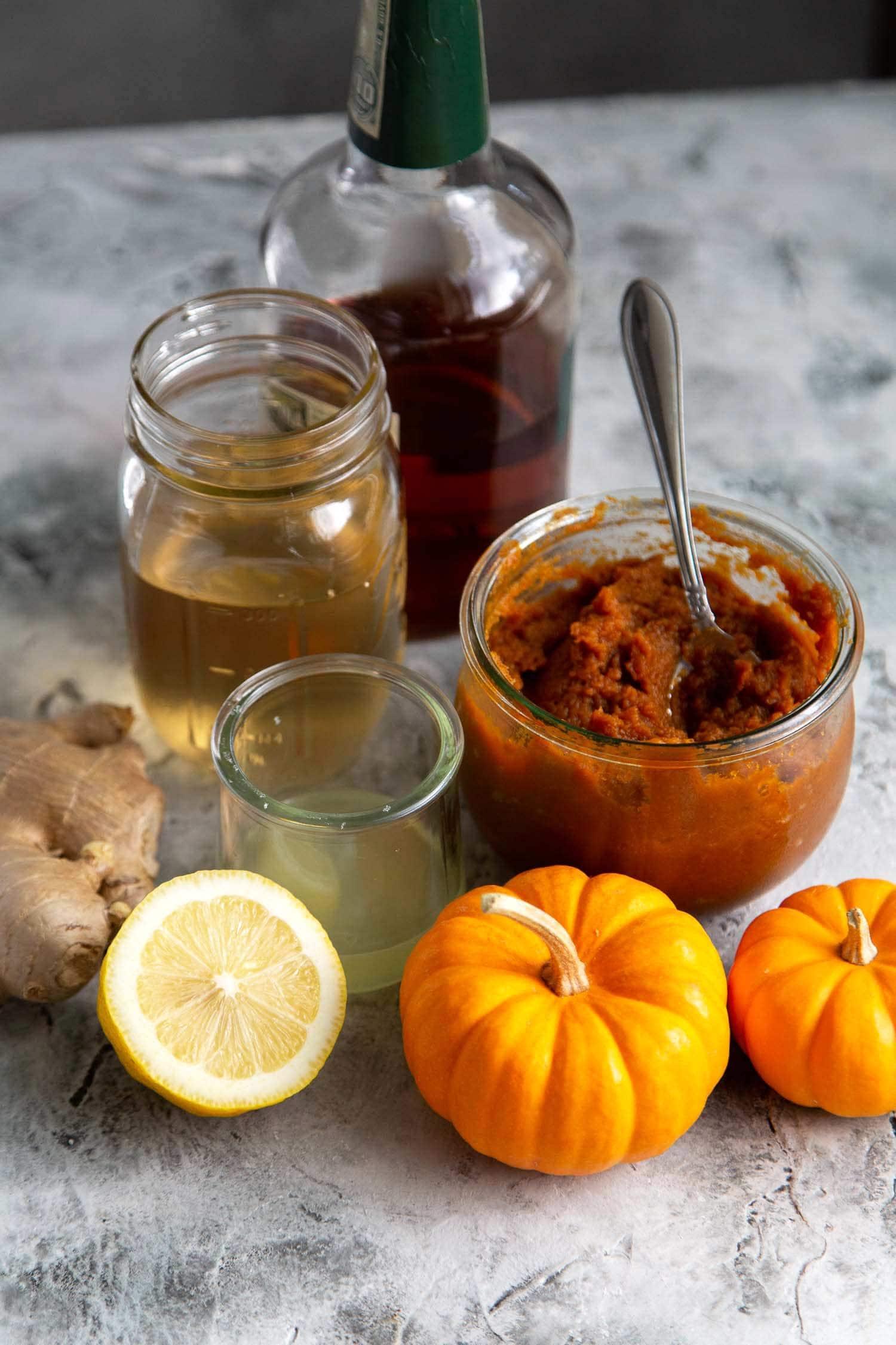 Ingredients needed to make pumpkin bourbon cocktail