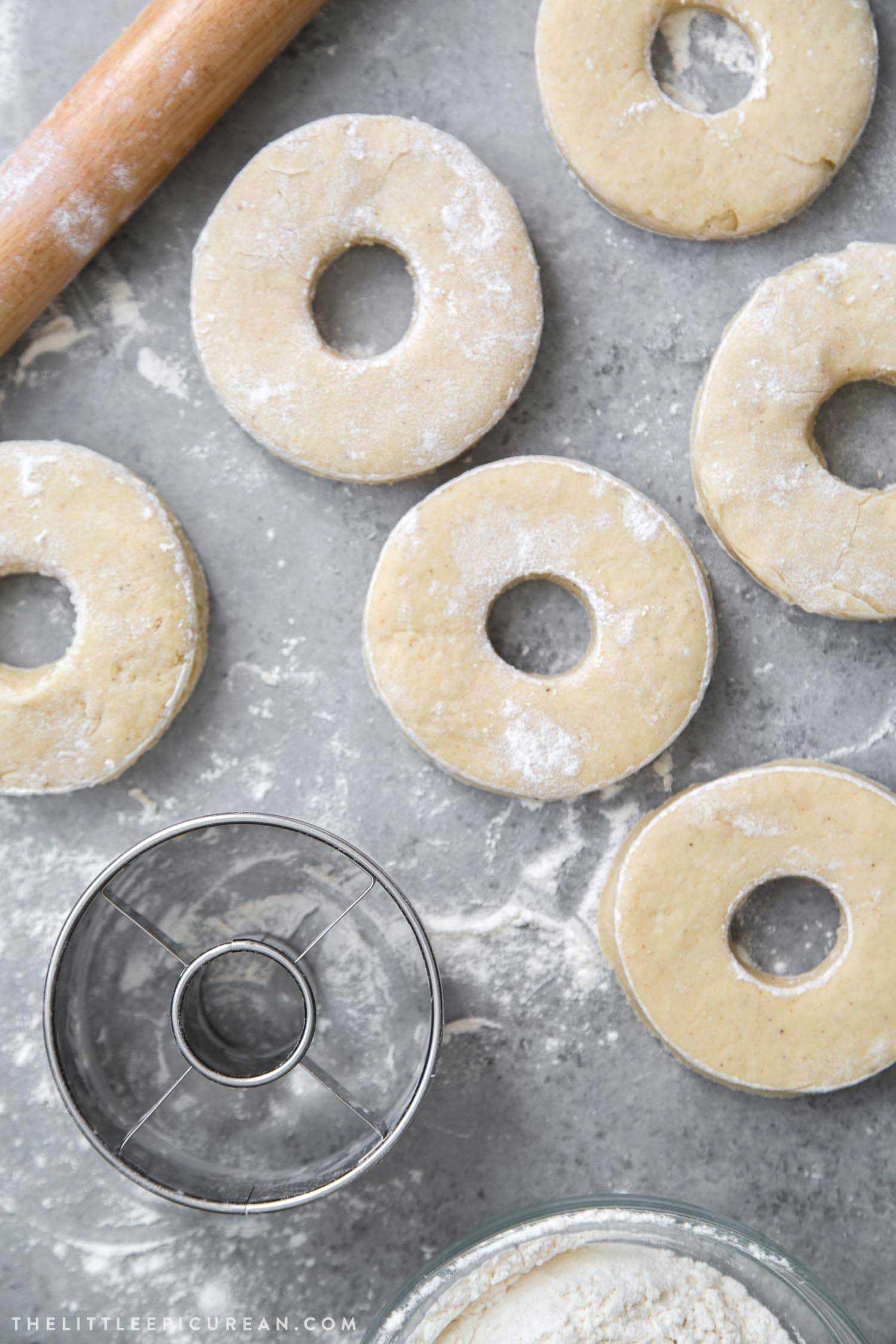 Old fashioned donuts dough before frying.