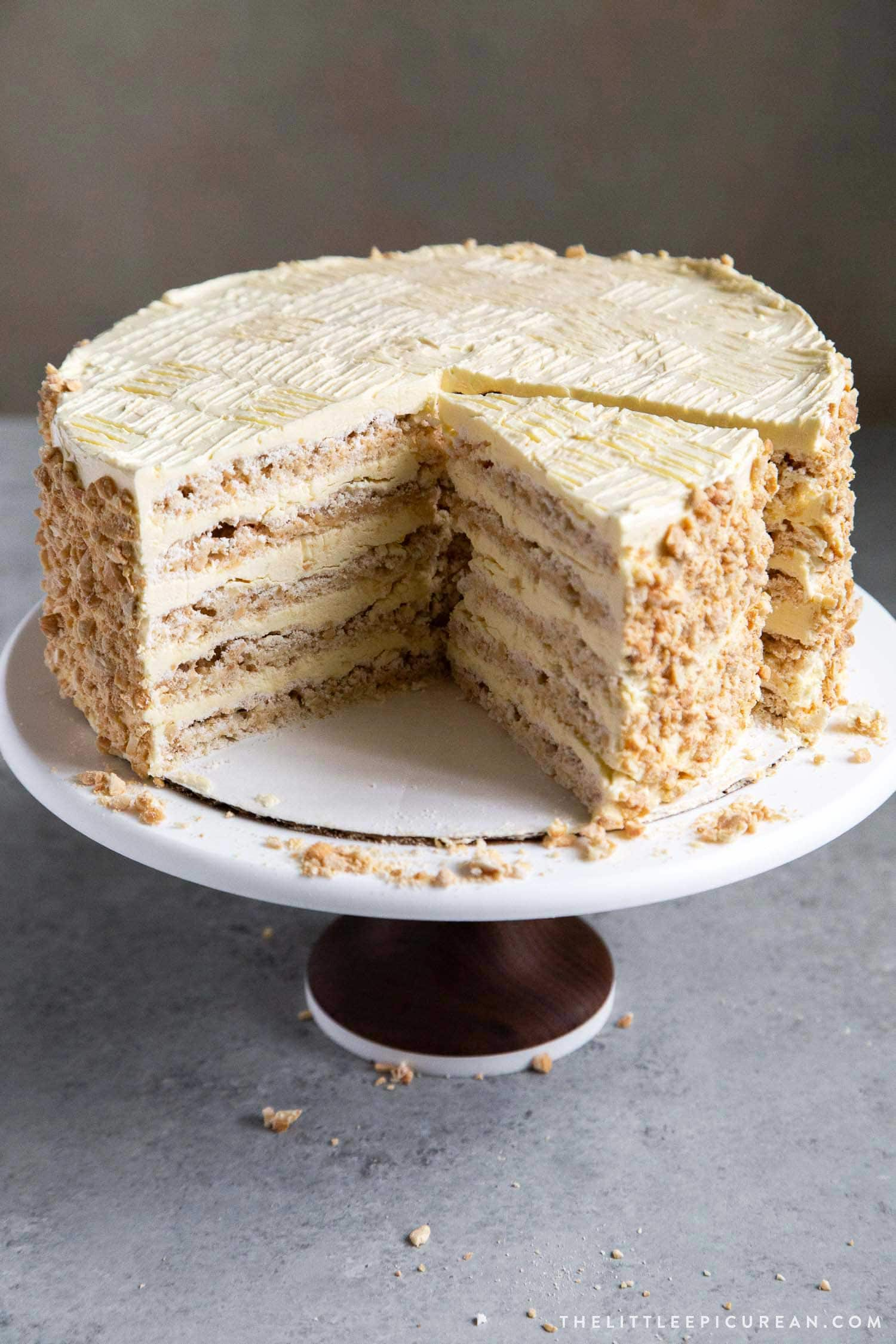 Sans Rival Cake. Filipino cake consisting of cashew dacquoise layered with French buttercream. #cake #dessert #glutenfree #cashews #buttercream #filipino #filipinodesserts #filipinorecipes