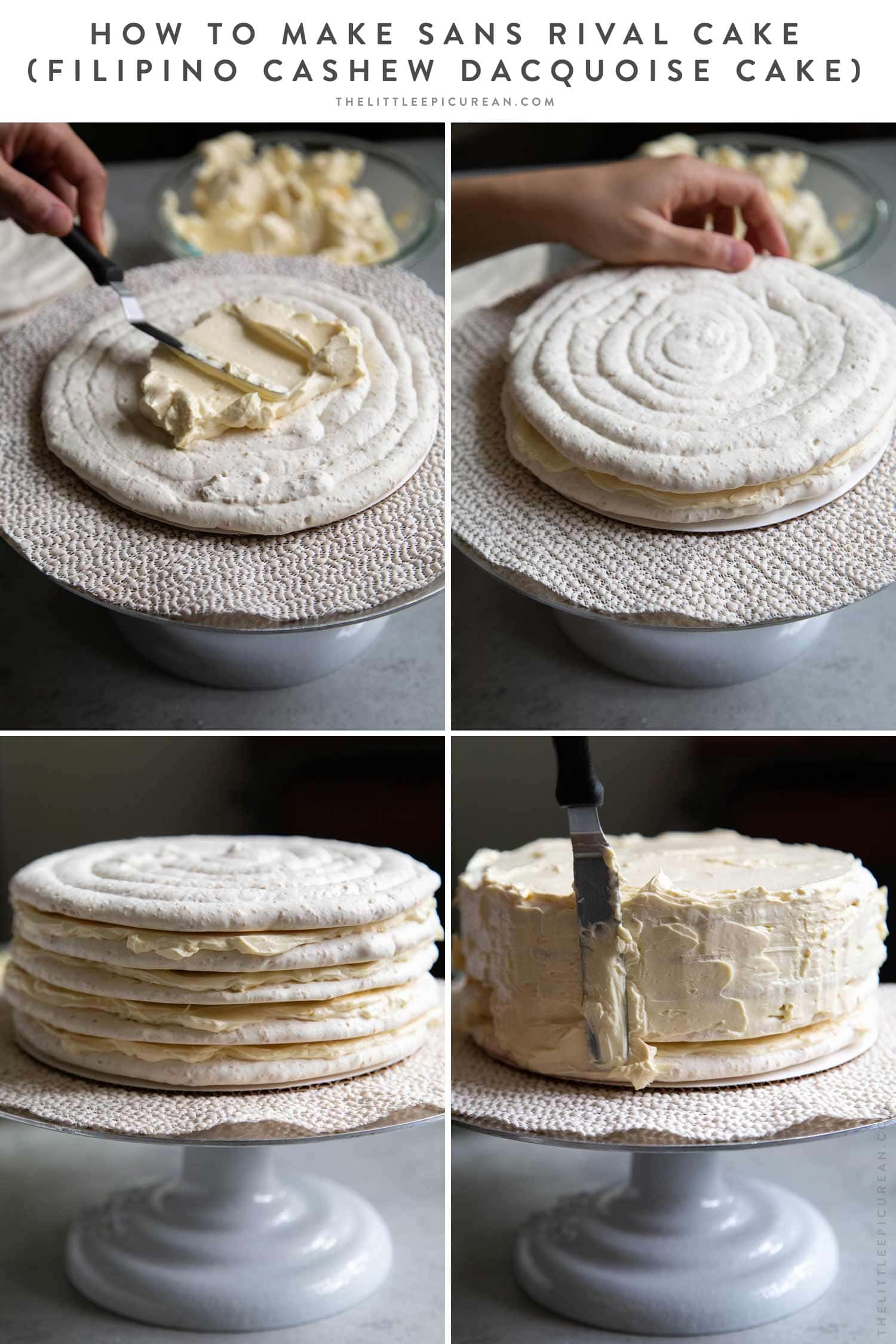 How to assemble Sans Rival Cake (Filipino Cashew Dacquoise Cake). This cake layers together cashew meringue and French buttercream. #sansrival #cake #cashews #filipino #filipinocake #filipinodessert #layercake