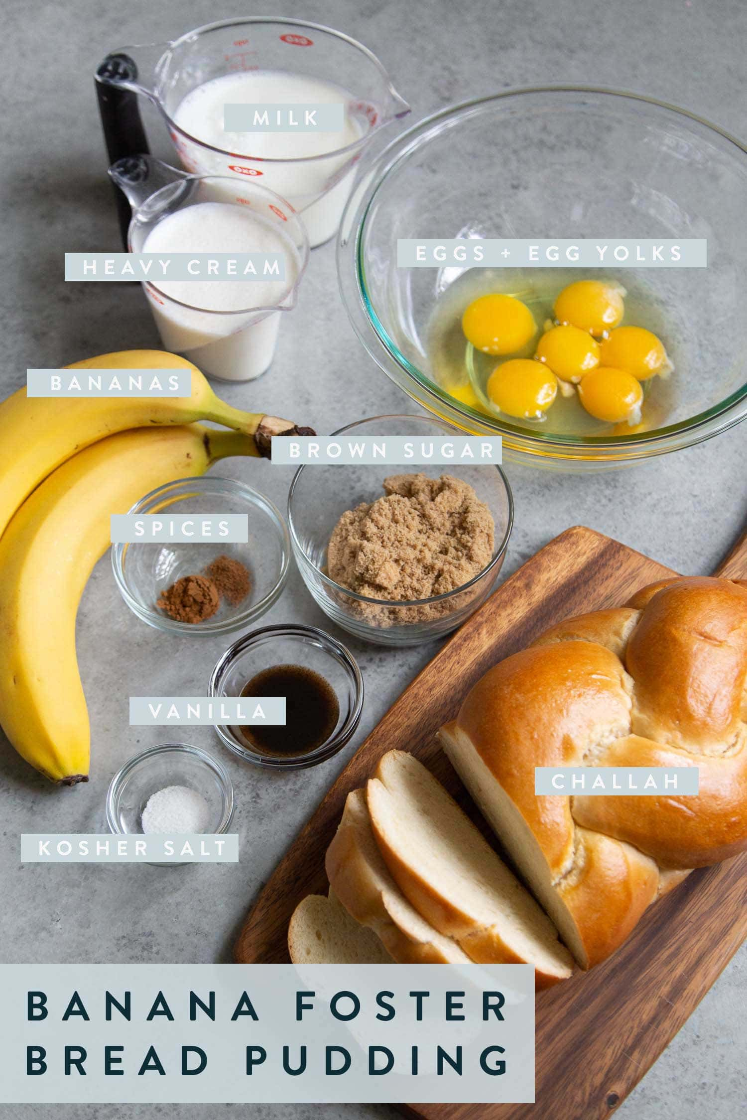 Ingredients needed for Banana Foster Bread Pudding