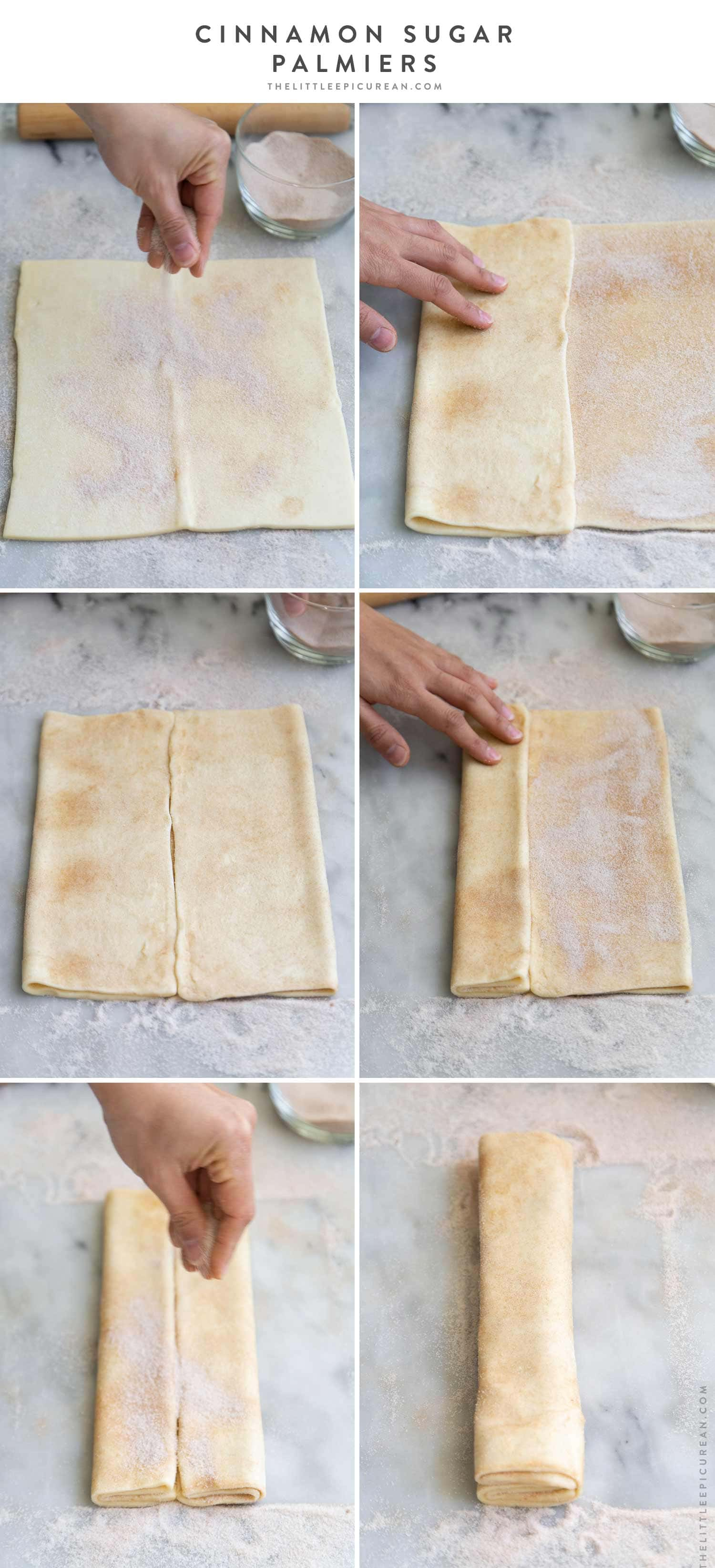 How to assemble Cinnamon Sugar Palmiers using puff pastry dough. #puffpastry #palmiers #easyrecipe #baking #cinnamonsugar