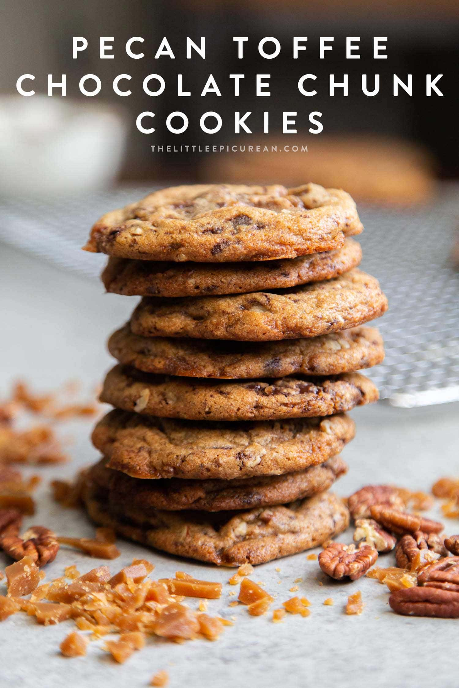 Pecan Toffee Chocolate Chunk Cookies. These soft and chewy cookies are loaded with flavor. They remain chewy even days after baking! #cookies #holidaycookies #cookieexchange #recipe #chocolate #toffee #dessert