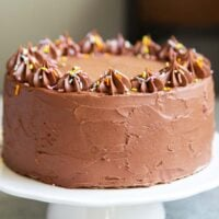 Classic Chocolate Cake. This recipe makes a two layer 8-inch cake or a three layer 6-inch cake. It is frosted with a simple chocolate American buttercream and decorated with rainbow sprinkles.
