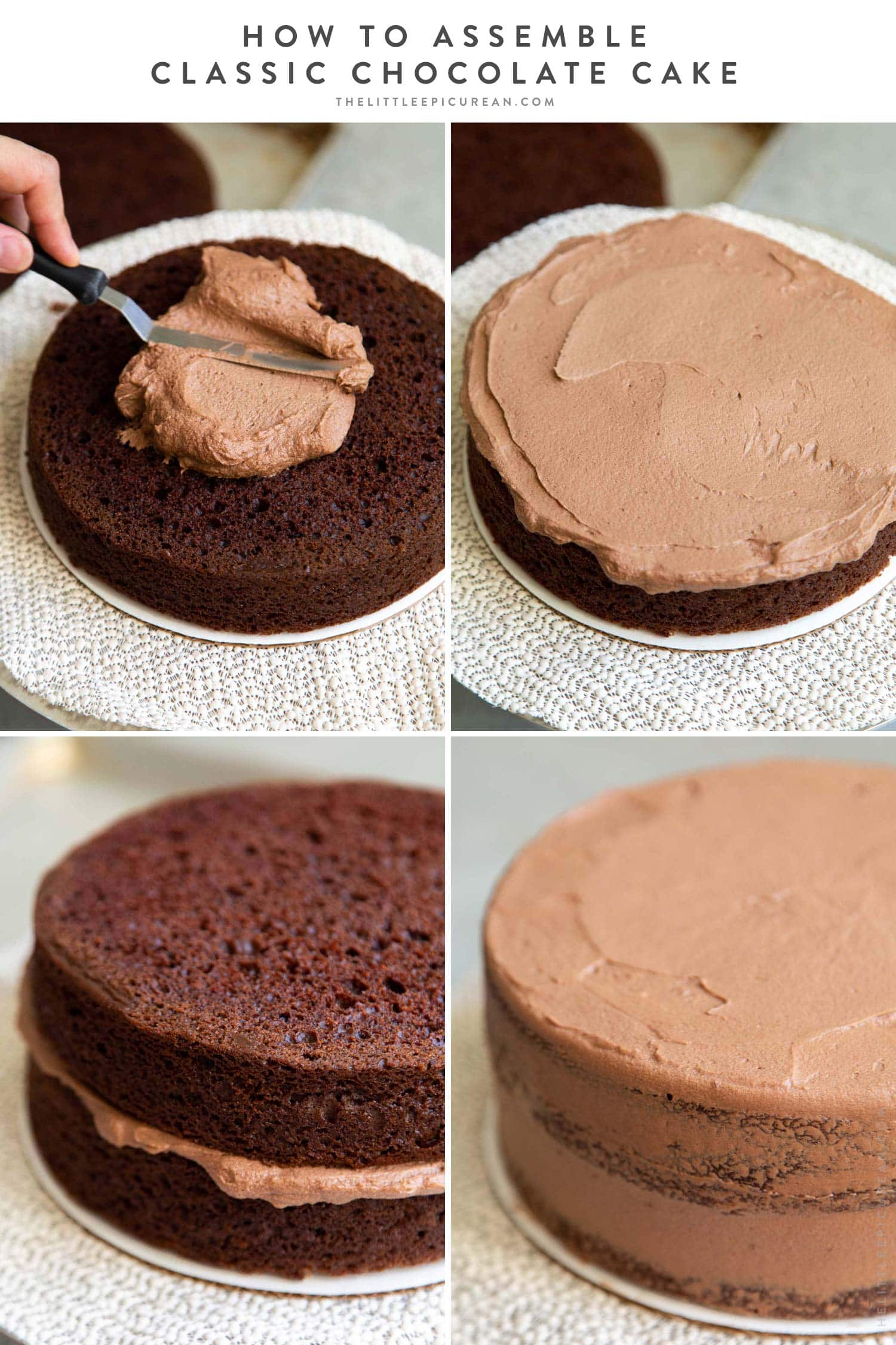 How to assemble classic chocolate cake. Two layer 8-inch cake with simple chocolate American buttercream.