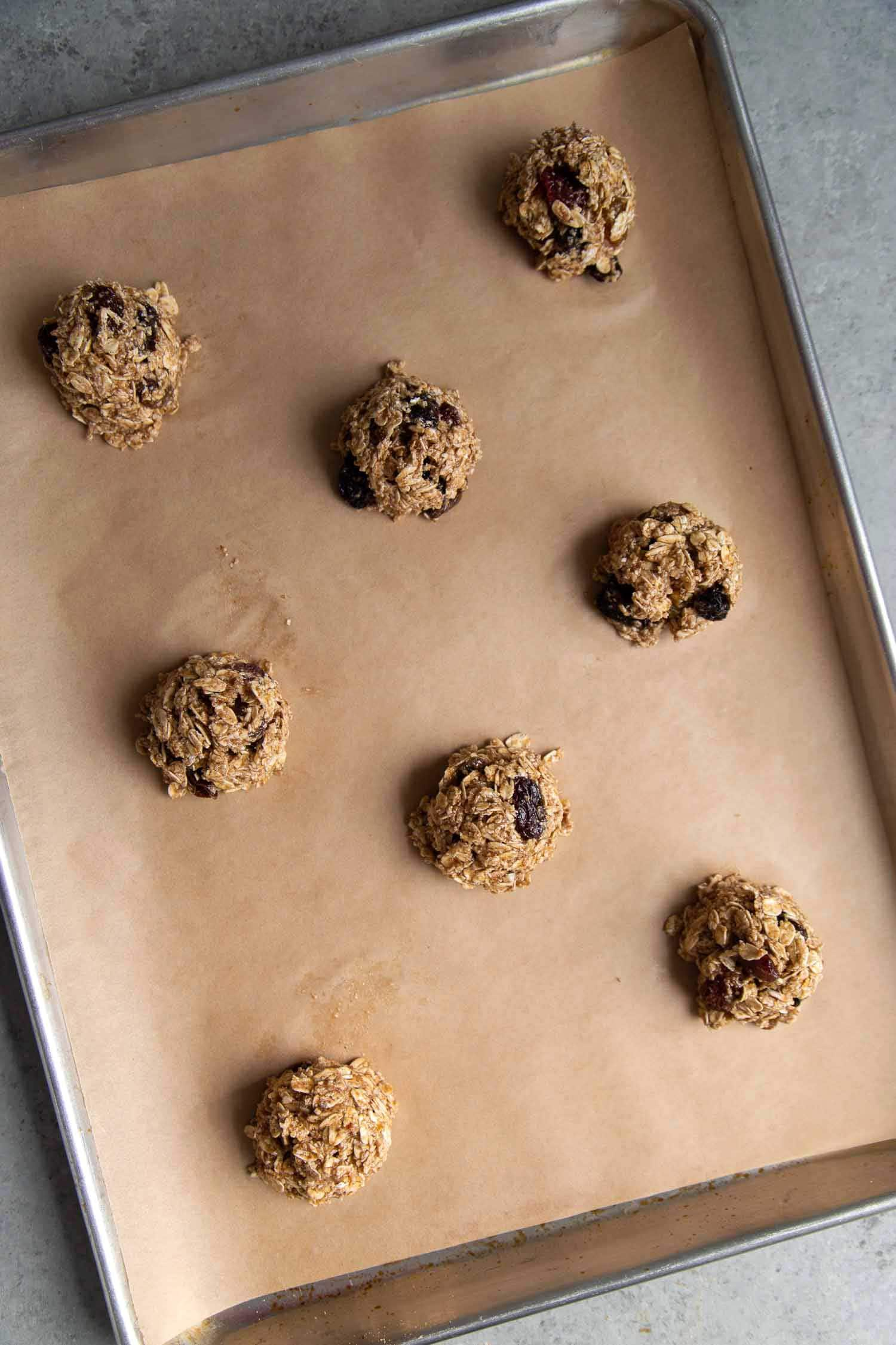 Vegan oatmeal raisin cookie dough made with gluten free oat flour, flaxseed egg, and coconut oil