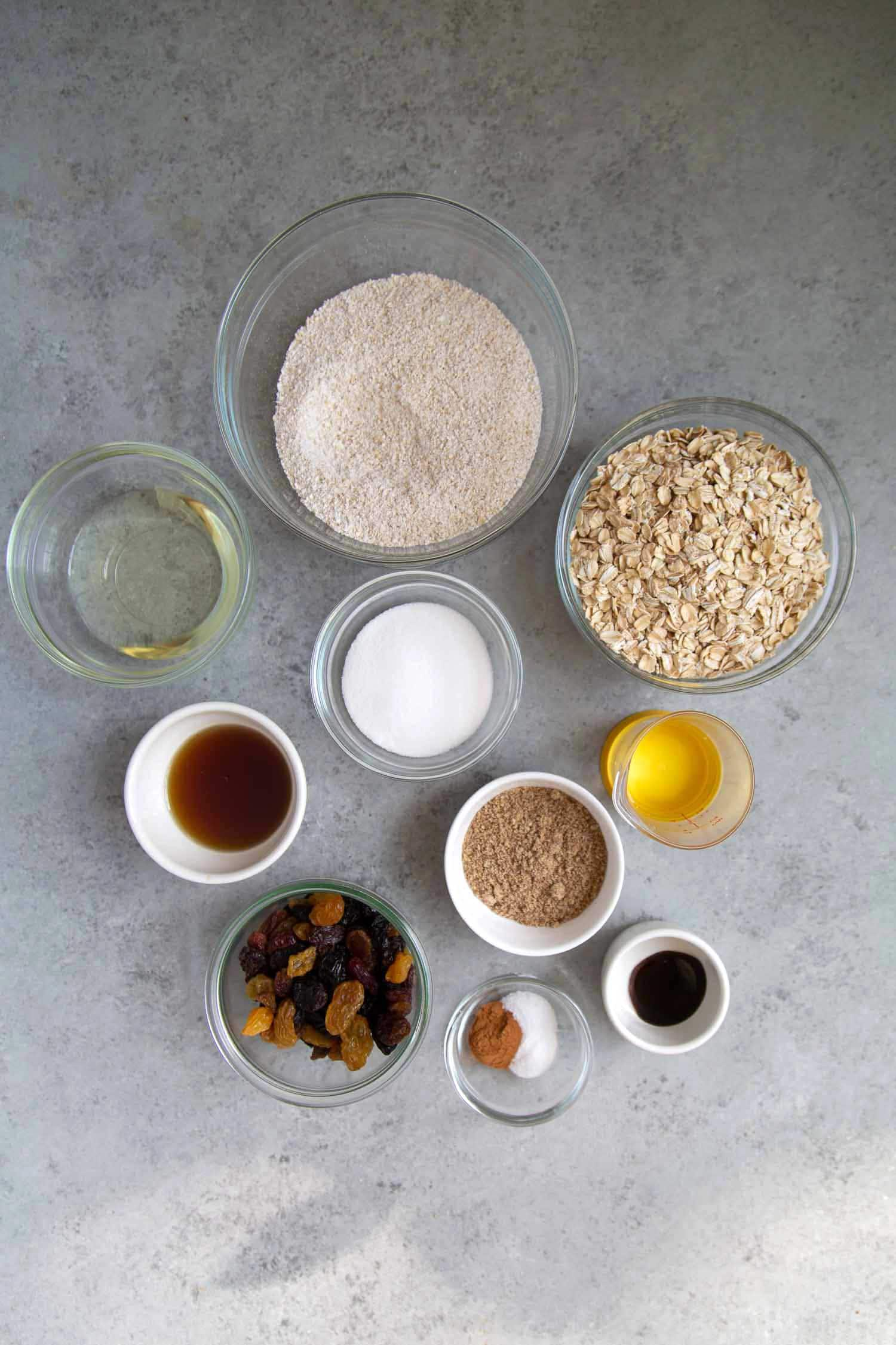 Gluten free vegan oatmeal raisin cookie ingredients