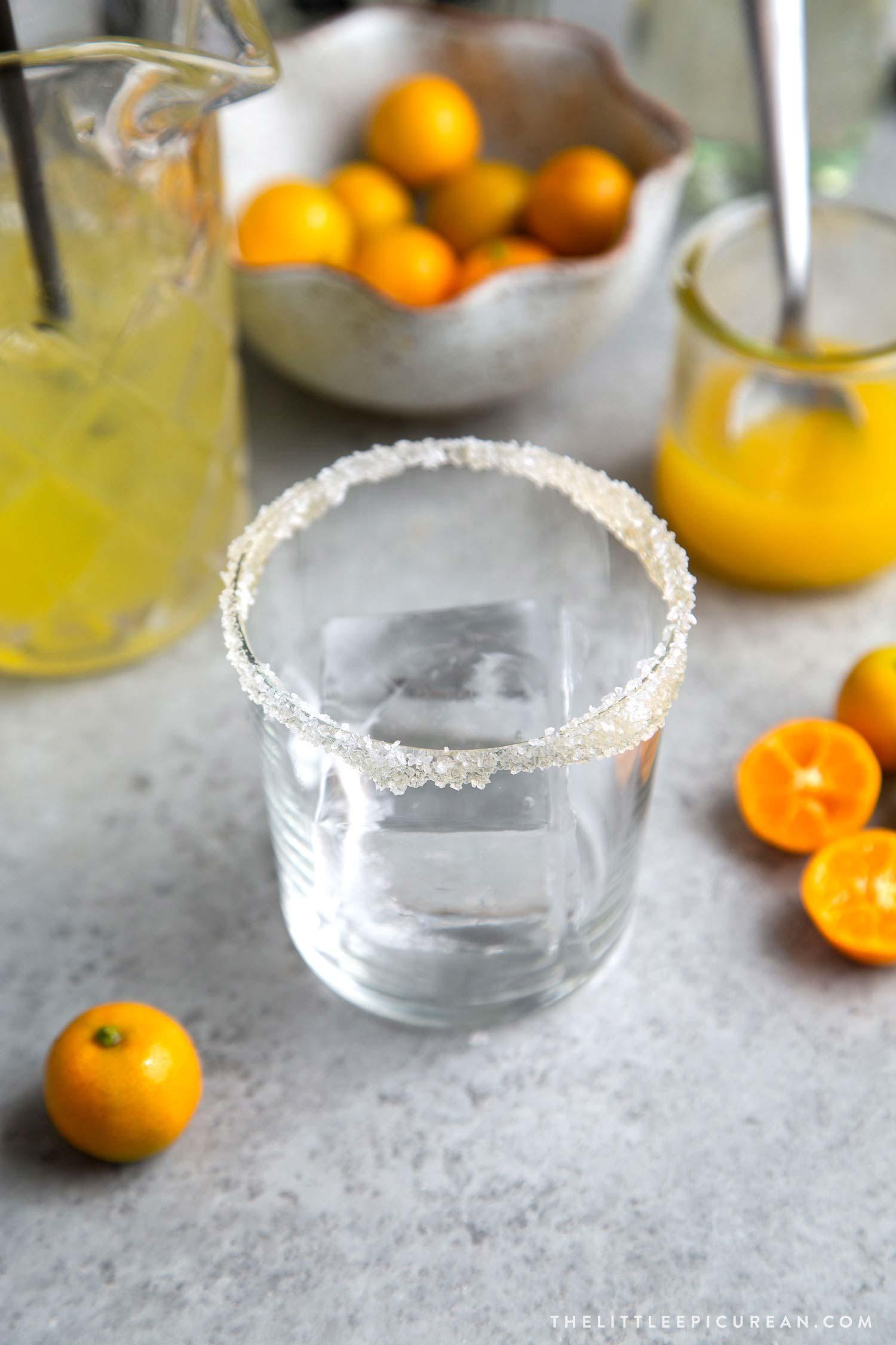 Calamansi Margarita with honey-salt rimmed glass