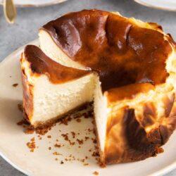 Basque Cheesecake with vanilla wafer cookie crust bottom