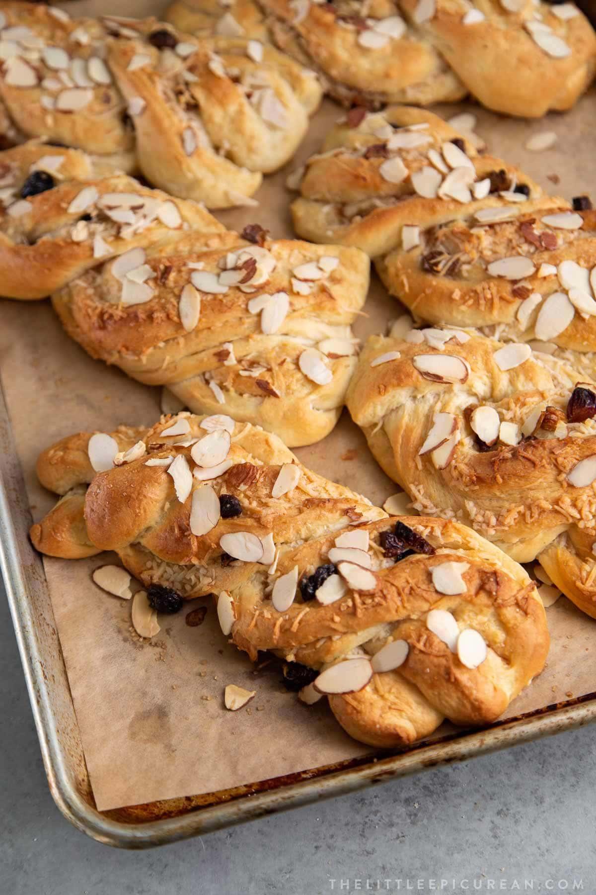 Braided Coconut Buns with raisins and cinnamon