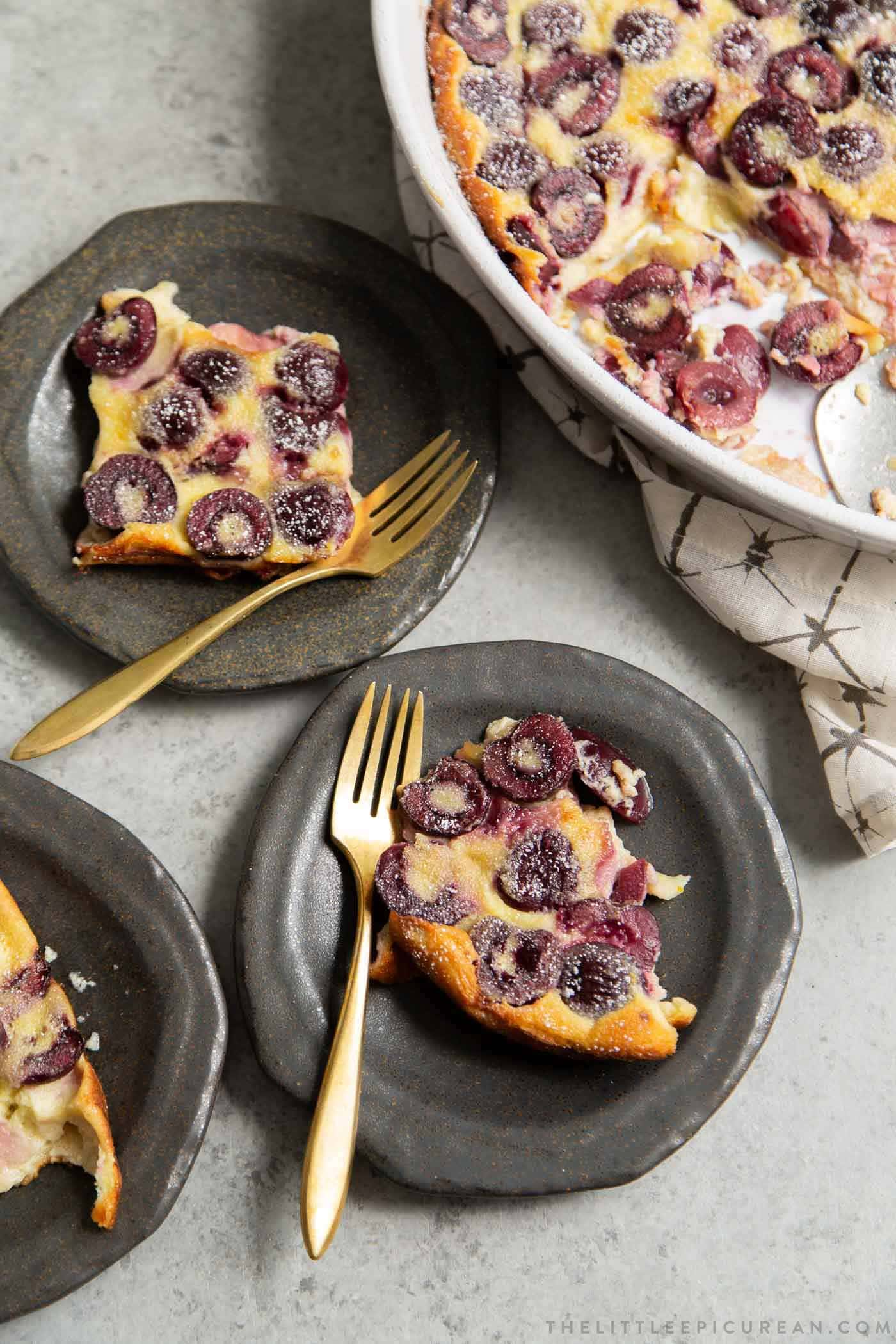 Cherry Clafoutis made with pitted dark sweet cherries