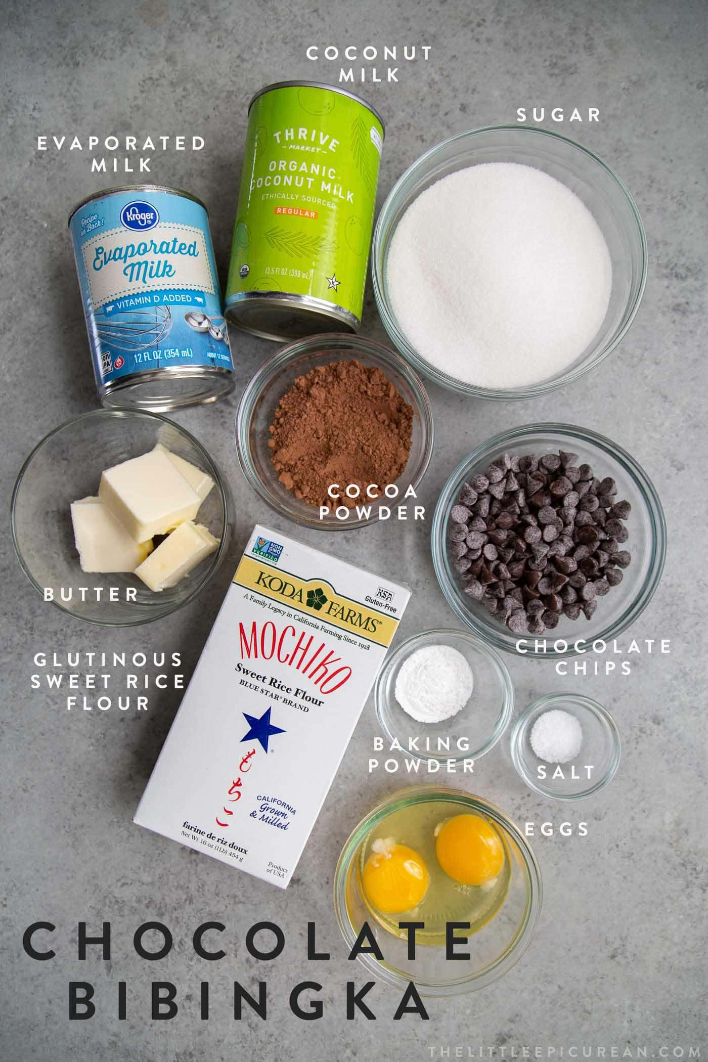 Chocolate Butter Mochi Cake Ingredients