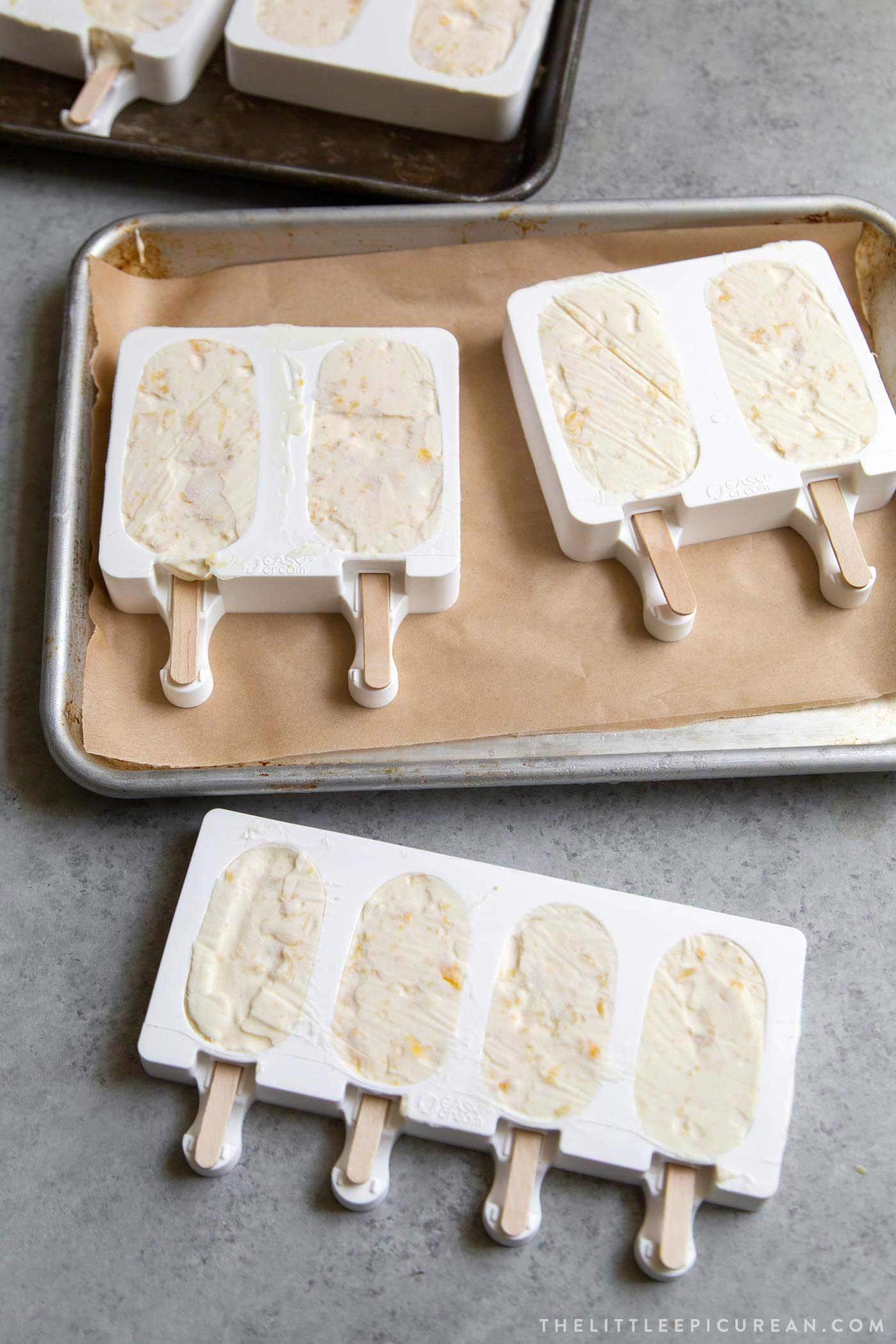 Corn Ice Cream Bars in silicone molds