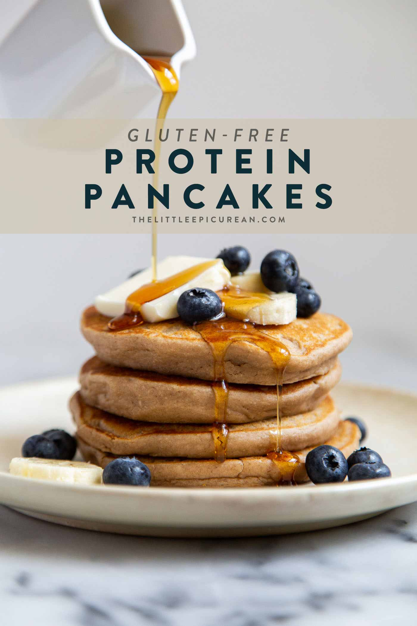 Gluten-free protein pancakes made with oat flour and protein powder