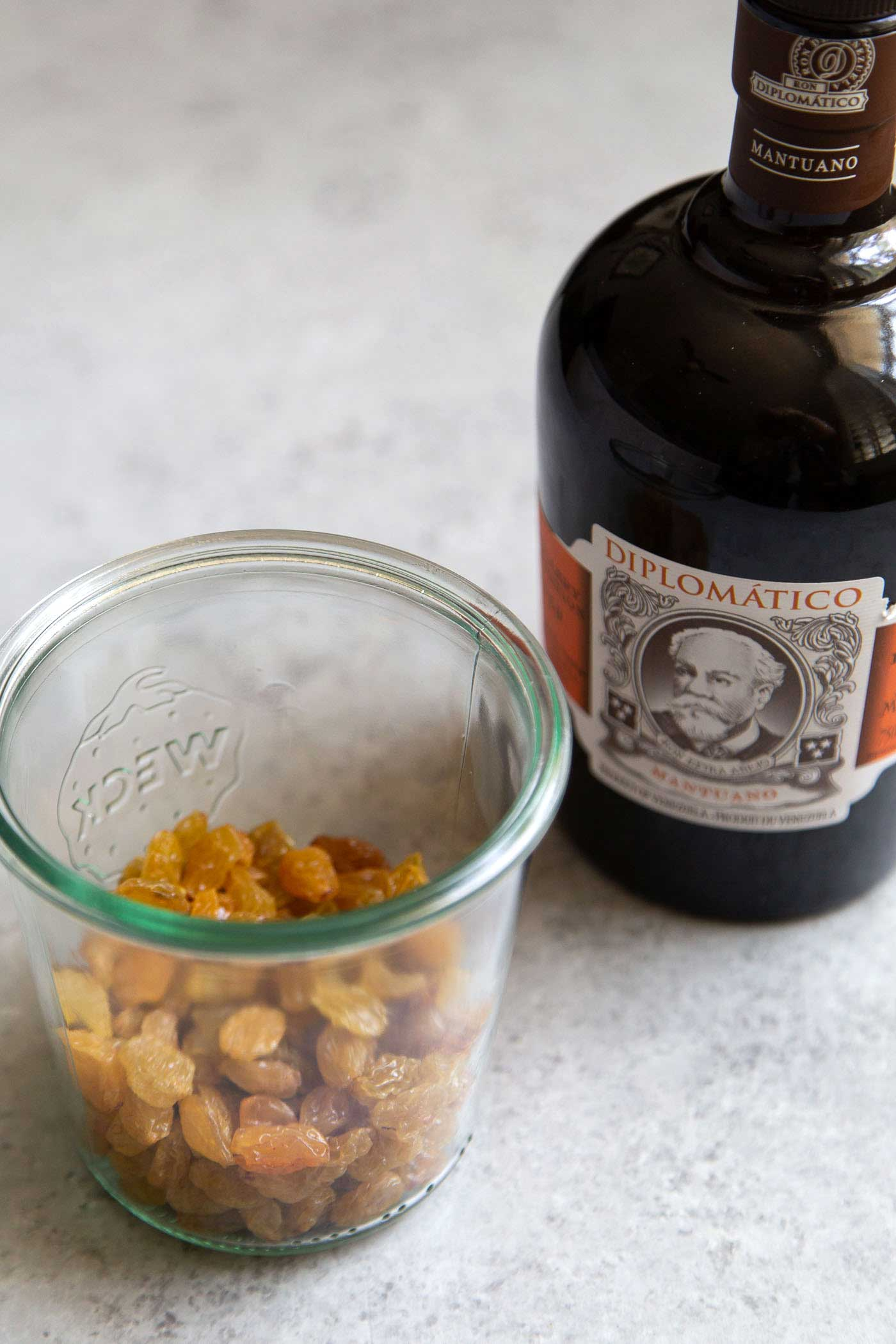 Golden raisins soaked in rum