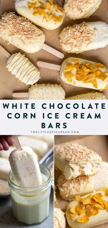 White chocolate dipped corn ice cream bars