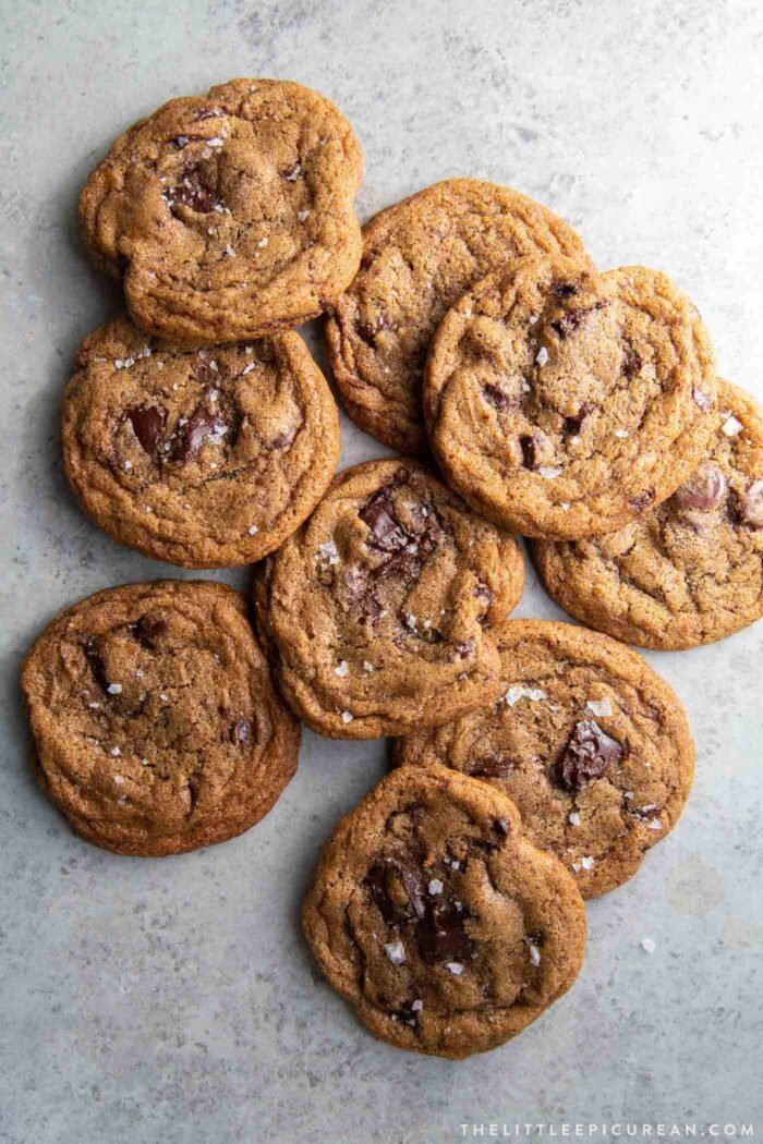 Rye Chocolate Chip Cookies with maldon sea salt flakes