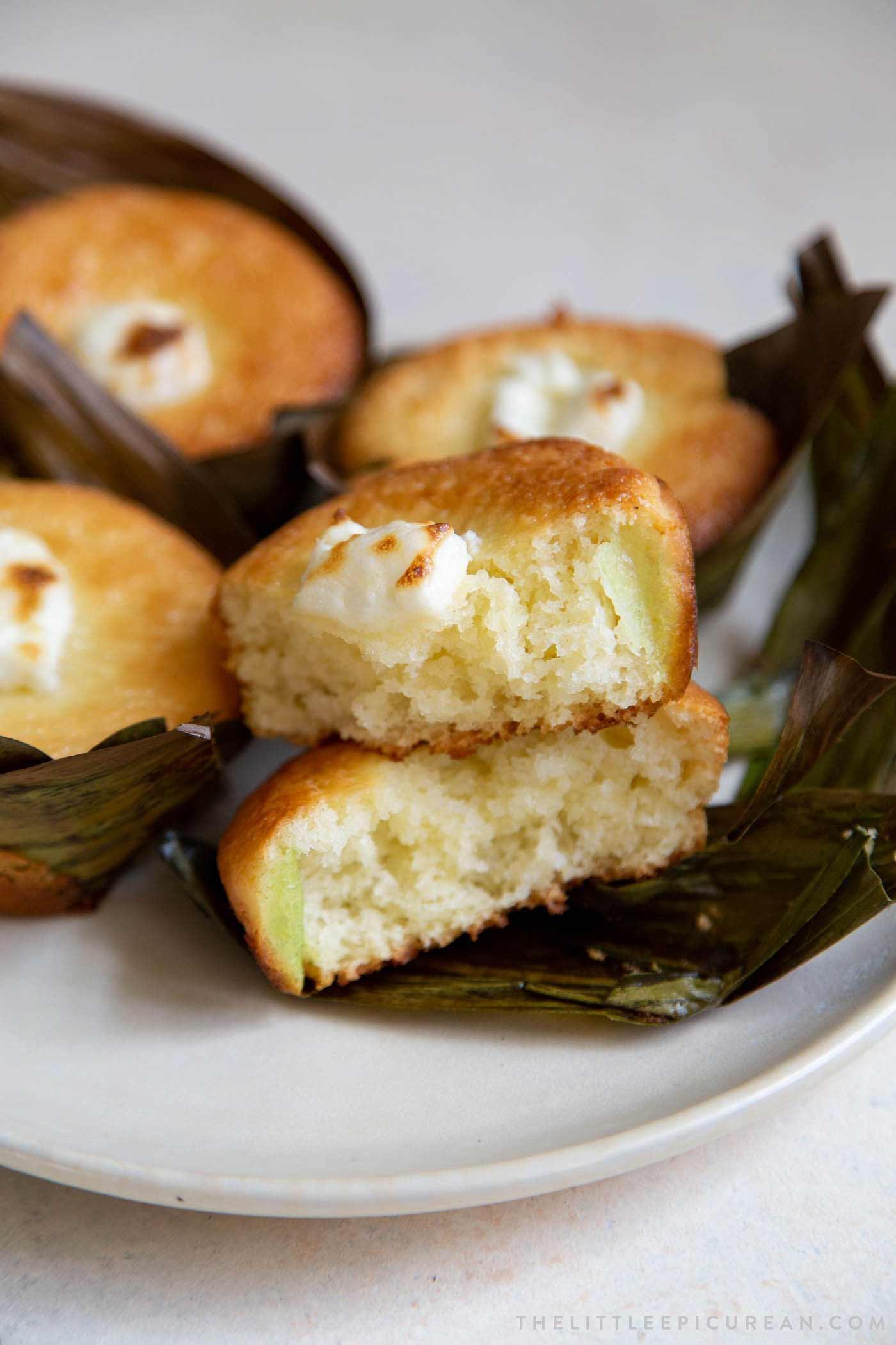 Soft fluffy bibingka coconut rice cake