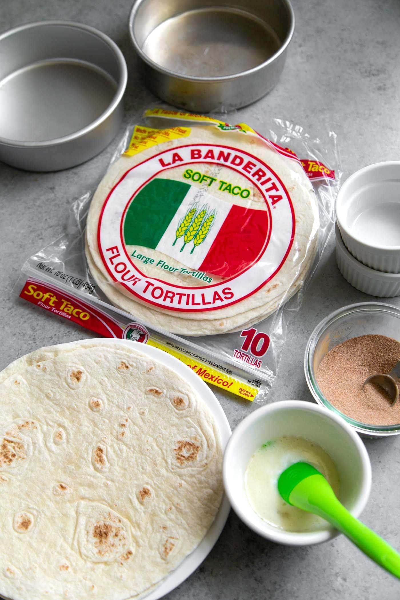 Baked Cinnamon Sugar Tortilla Bowl ingredients