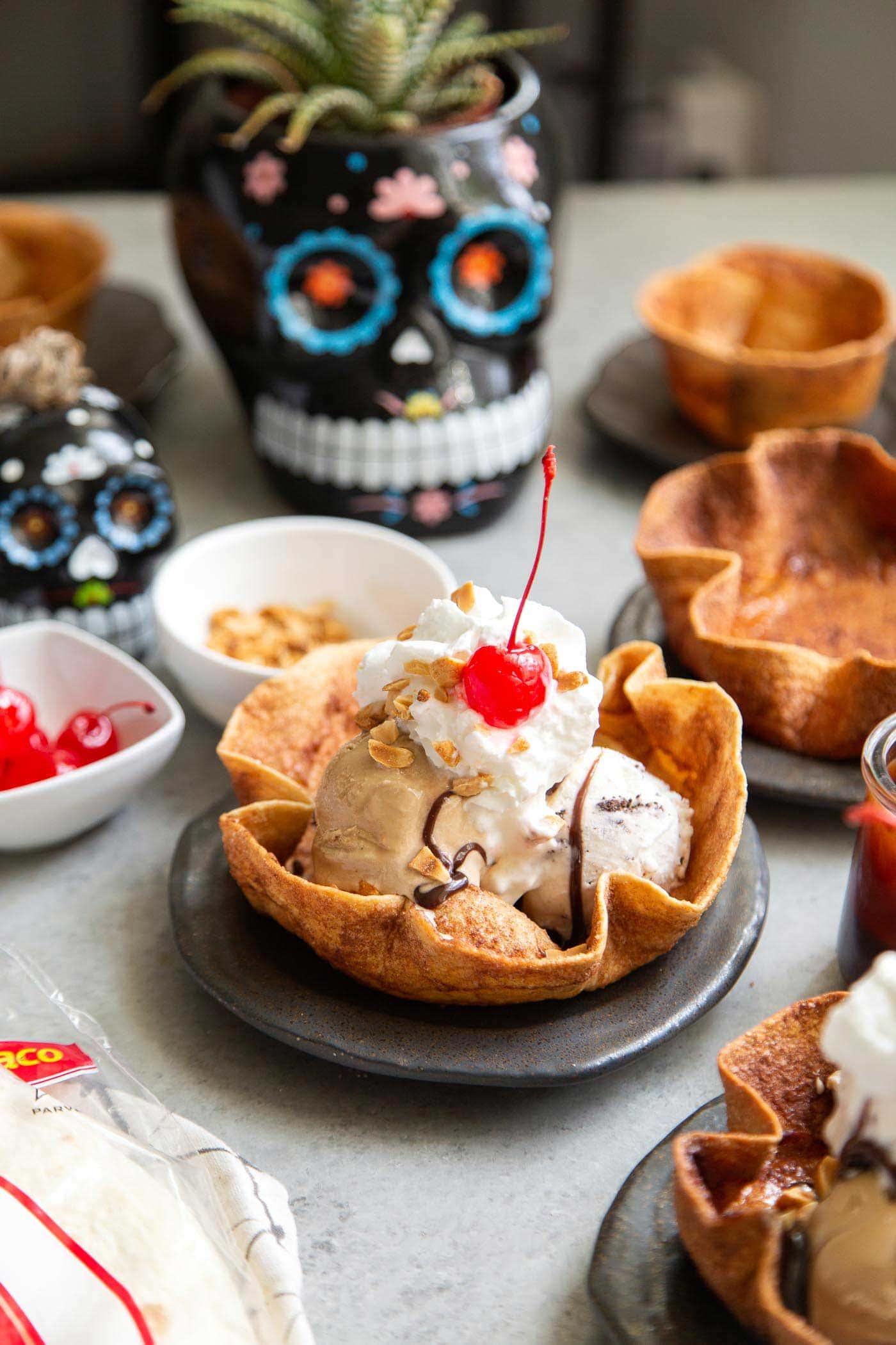 Cinnamon Sugar Tortilla Bowl for Ice Cream Sundae