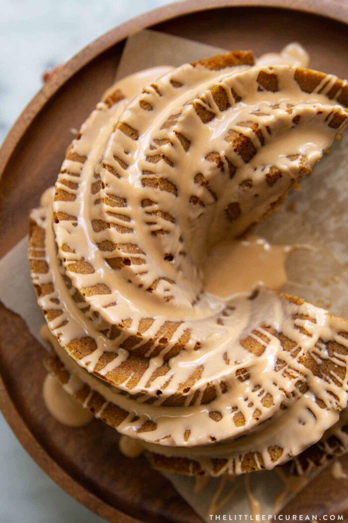 Pumpkin Bundt Cake with spiced glaze