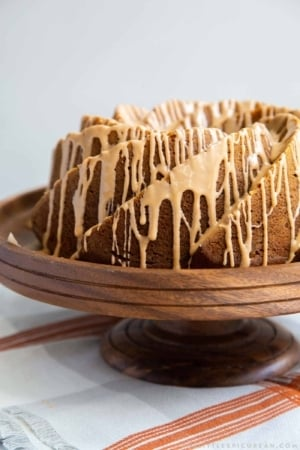Pumpkin Bundt Cake with spiced glaze drizzle