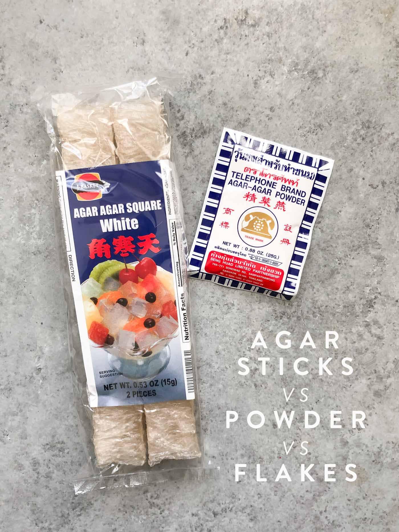 Agar sticks vs agar powder as vegan alternative to gelatin