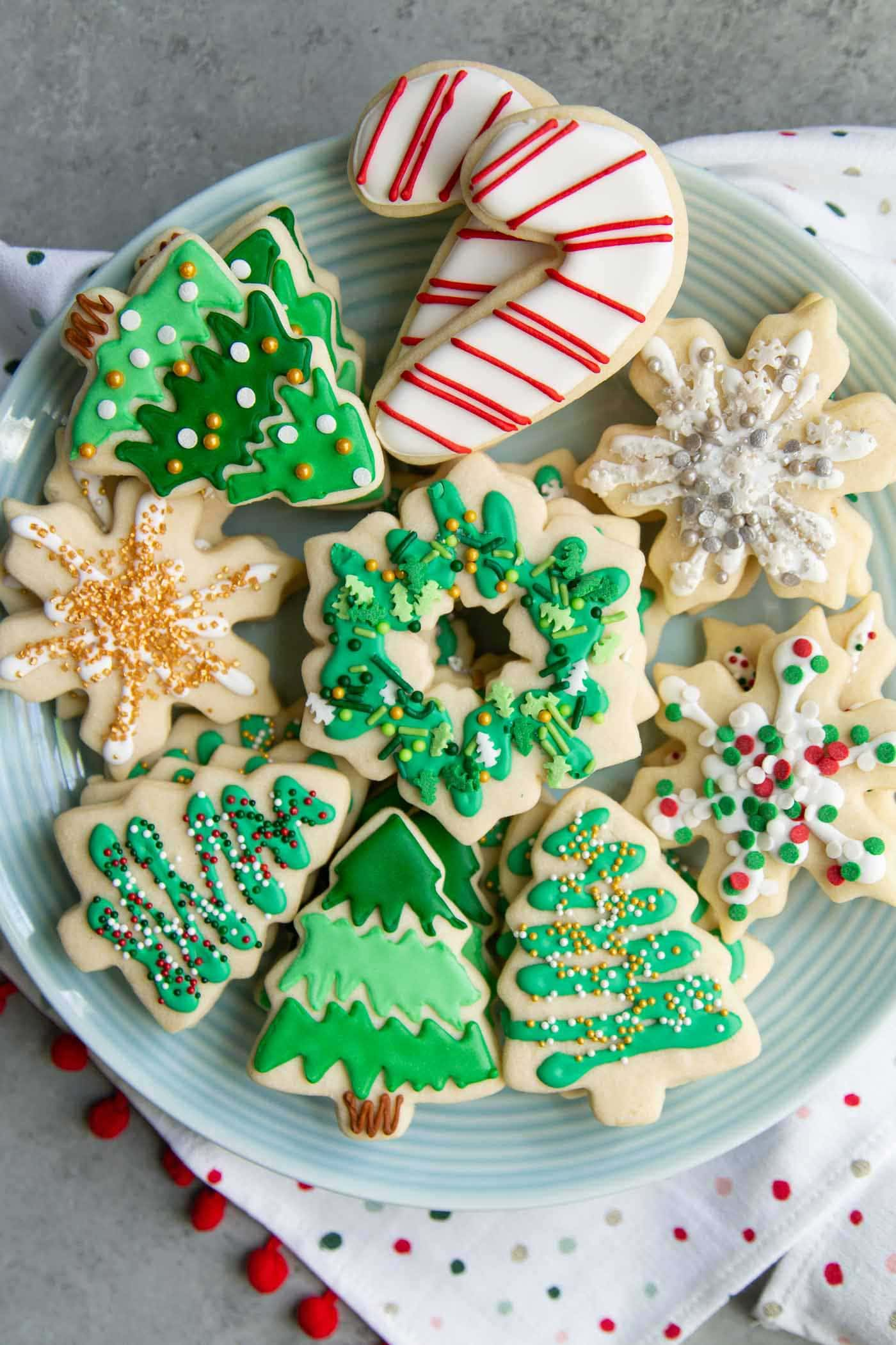 Assorted decorated holiday sugar cookies