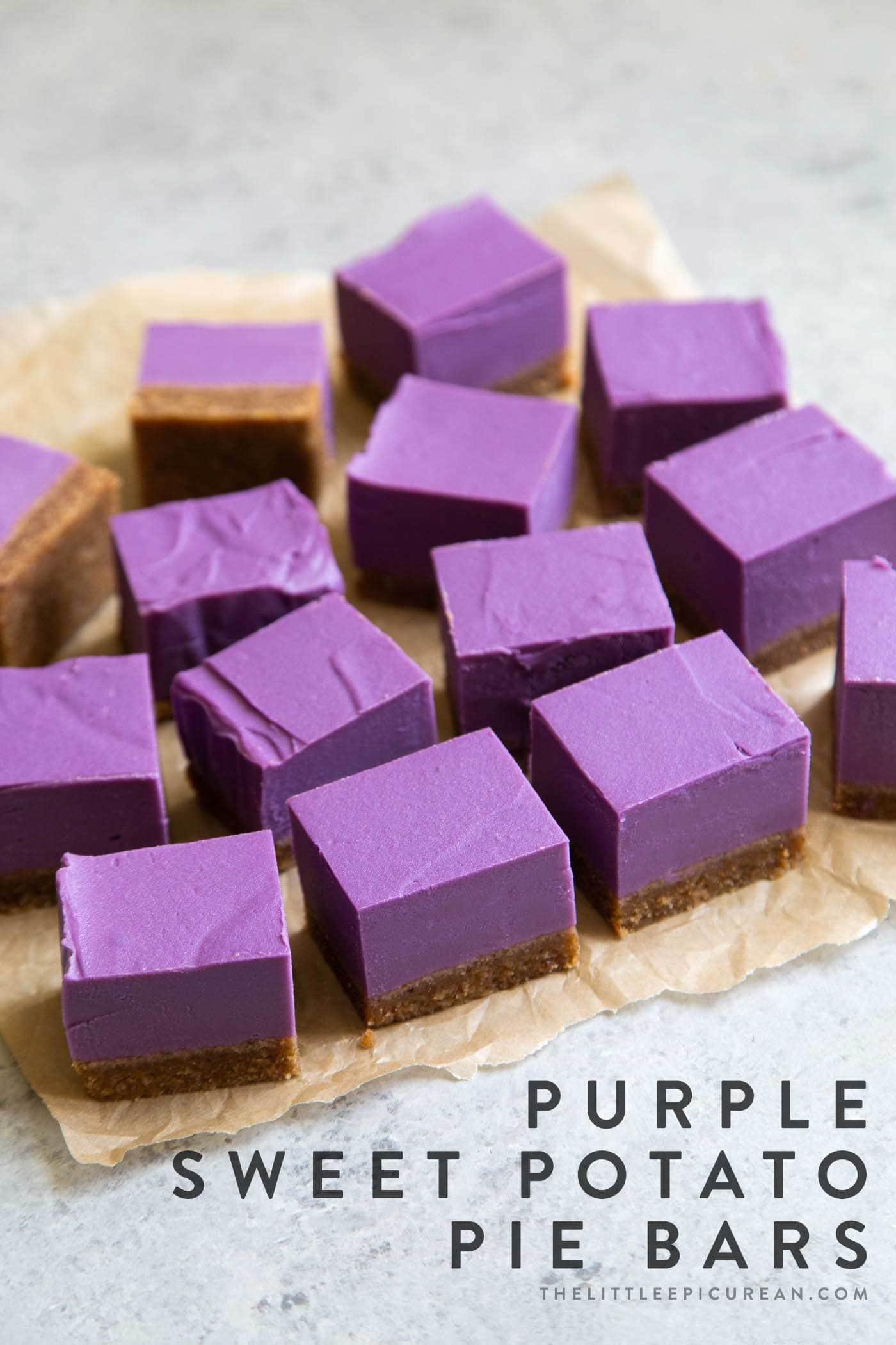 Vegan Purple Sweet Potato Pie Bars with almond butter crust.
