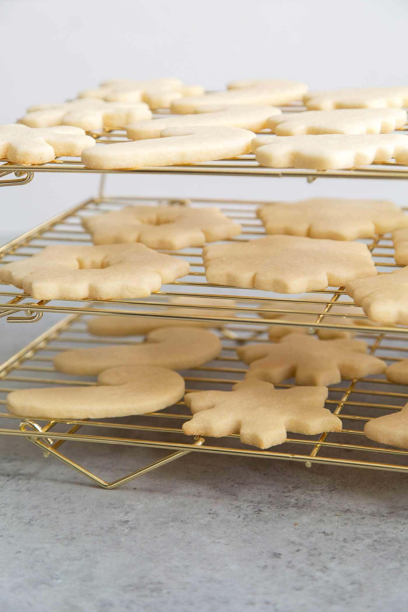 Sugar Cookies cooling on stackable rack