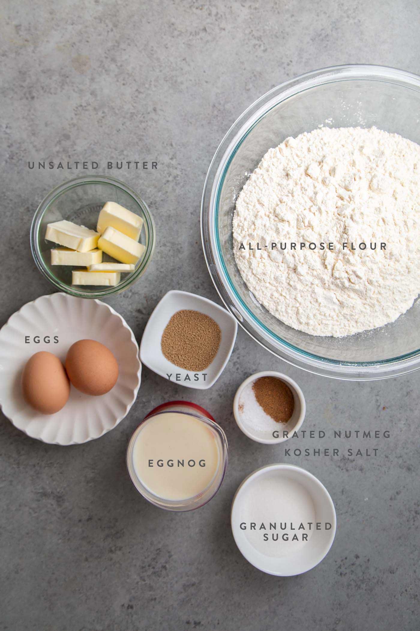 Eggnog Cinnamon Rolls dough ingredients