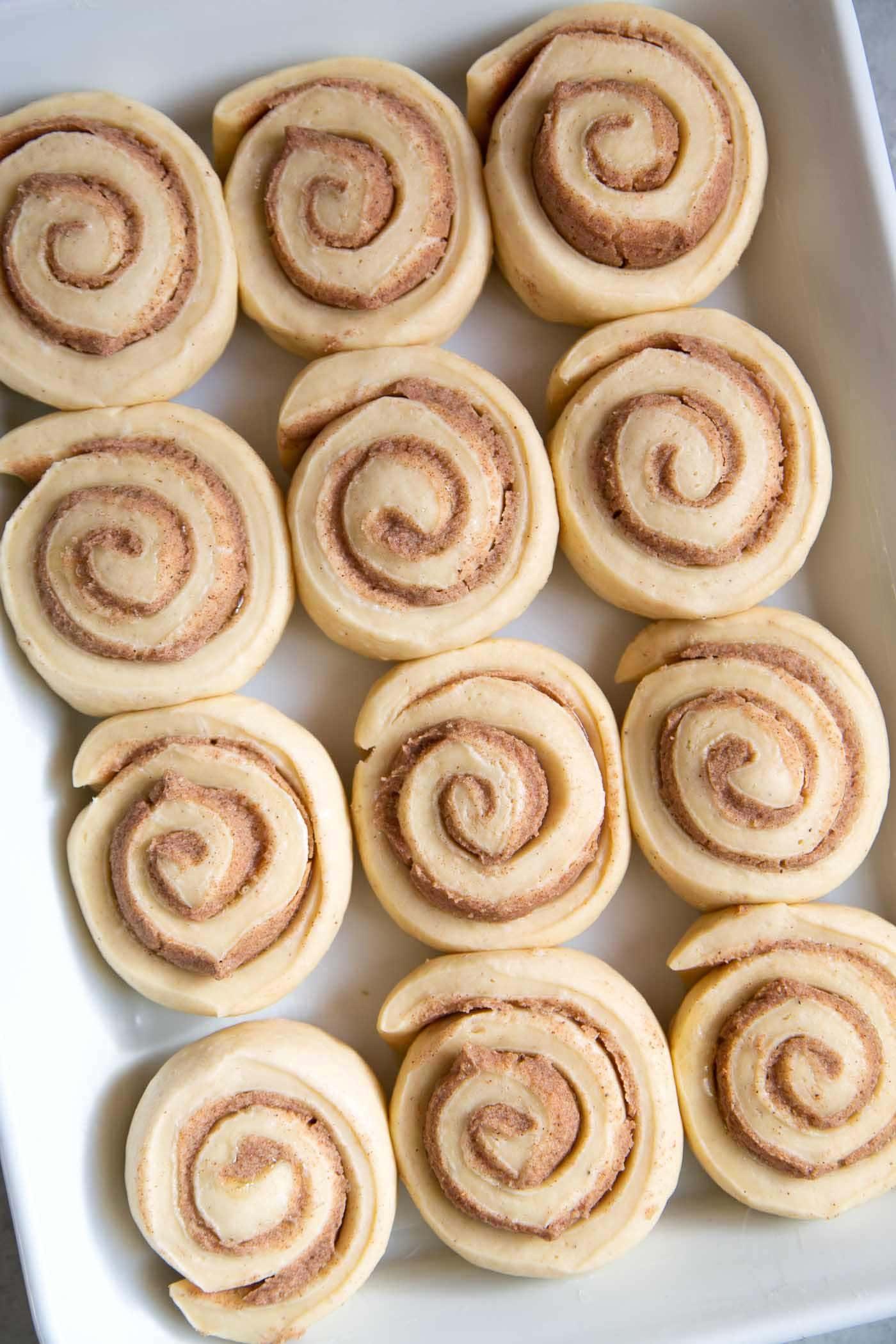 Eggnog Cinnamon Rolls before baking