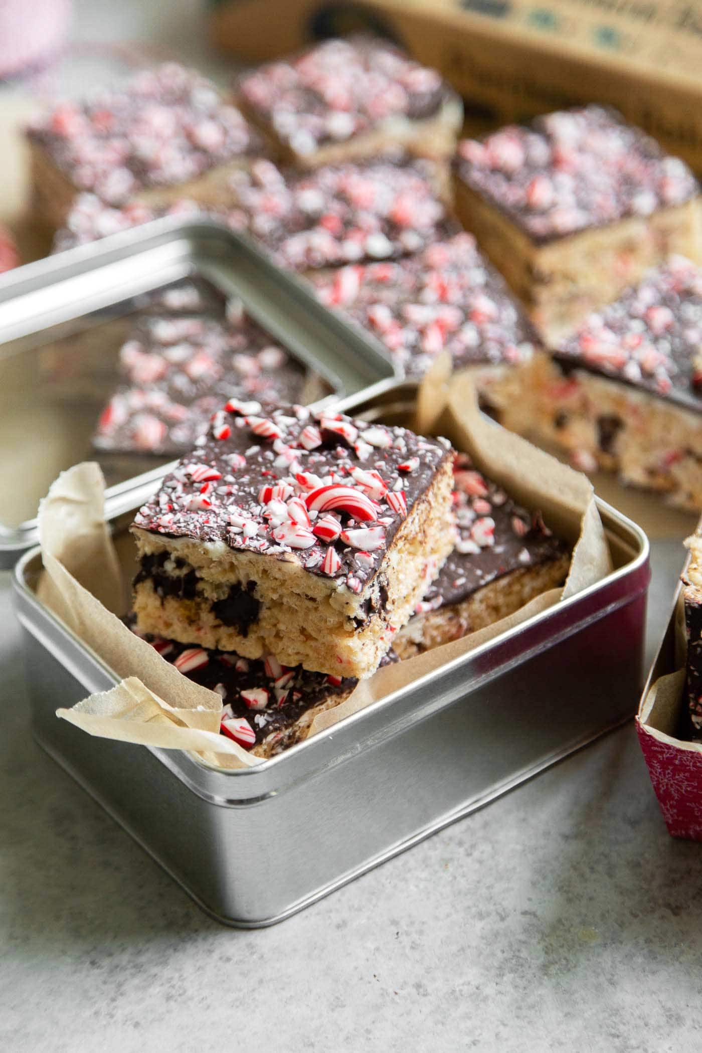 Peppermint Marshmallow Cereal Bars