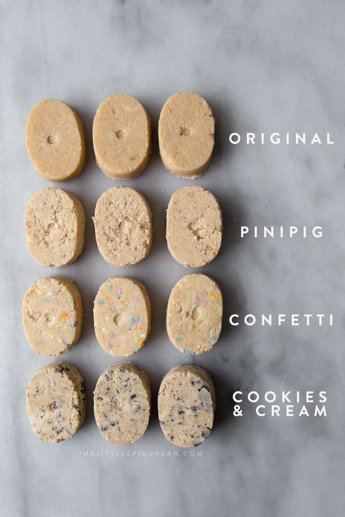 four different homemade polvoron flavors
