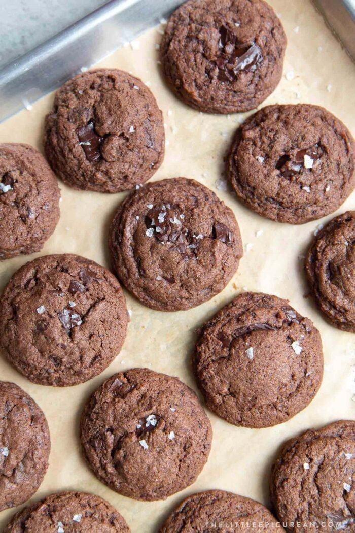 Double Chocolate Chip Cookies with sea salt flakes