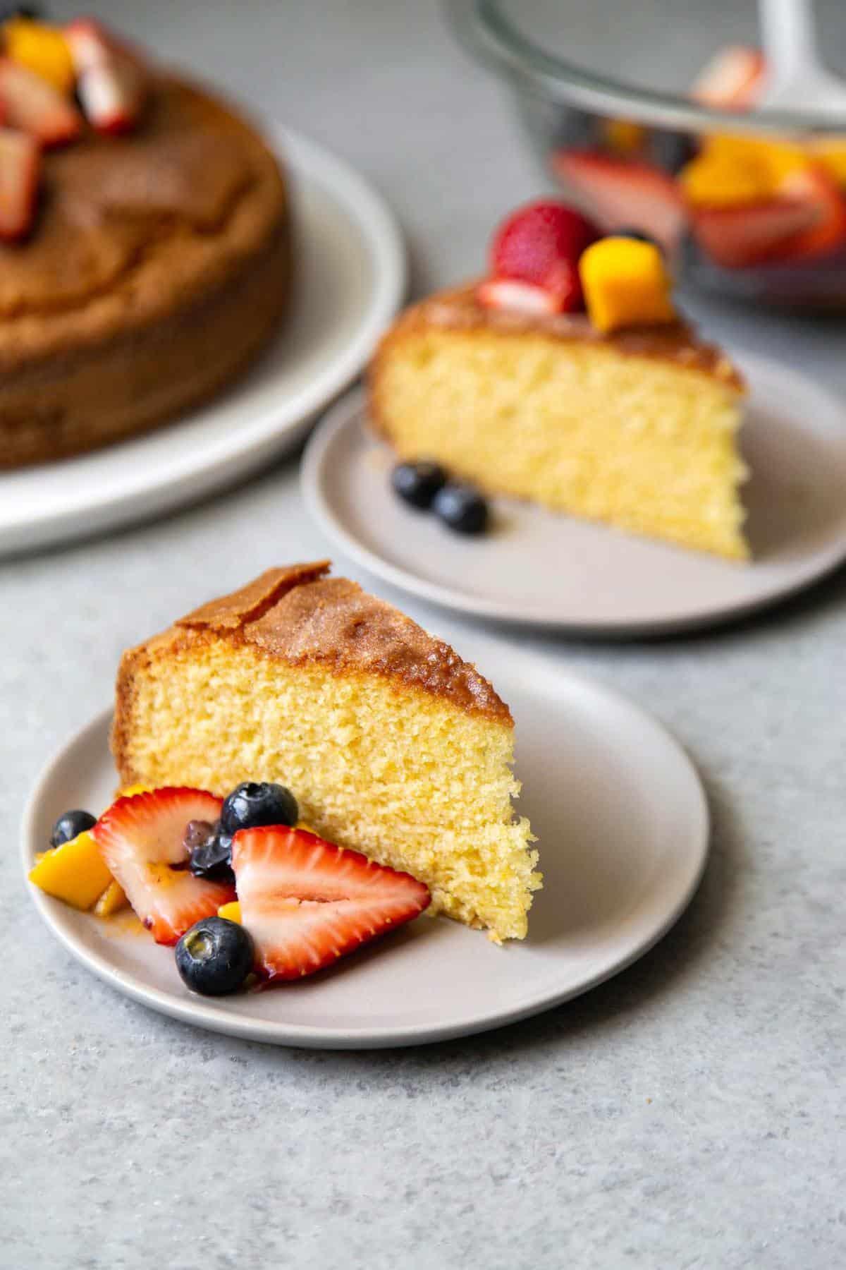 Olive Oil Cake with Fruit Salad